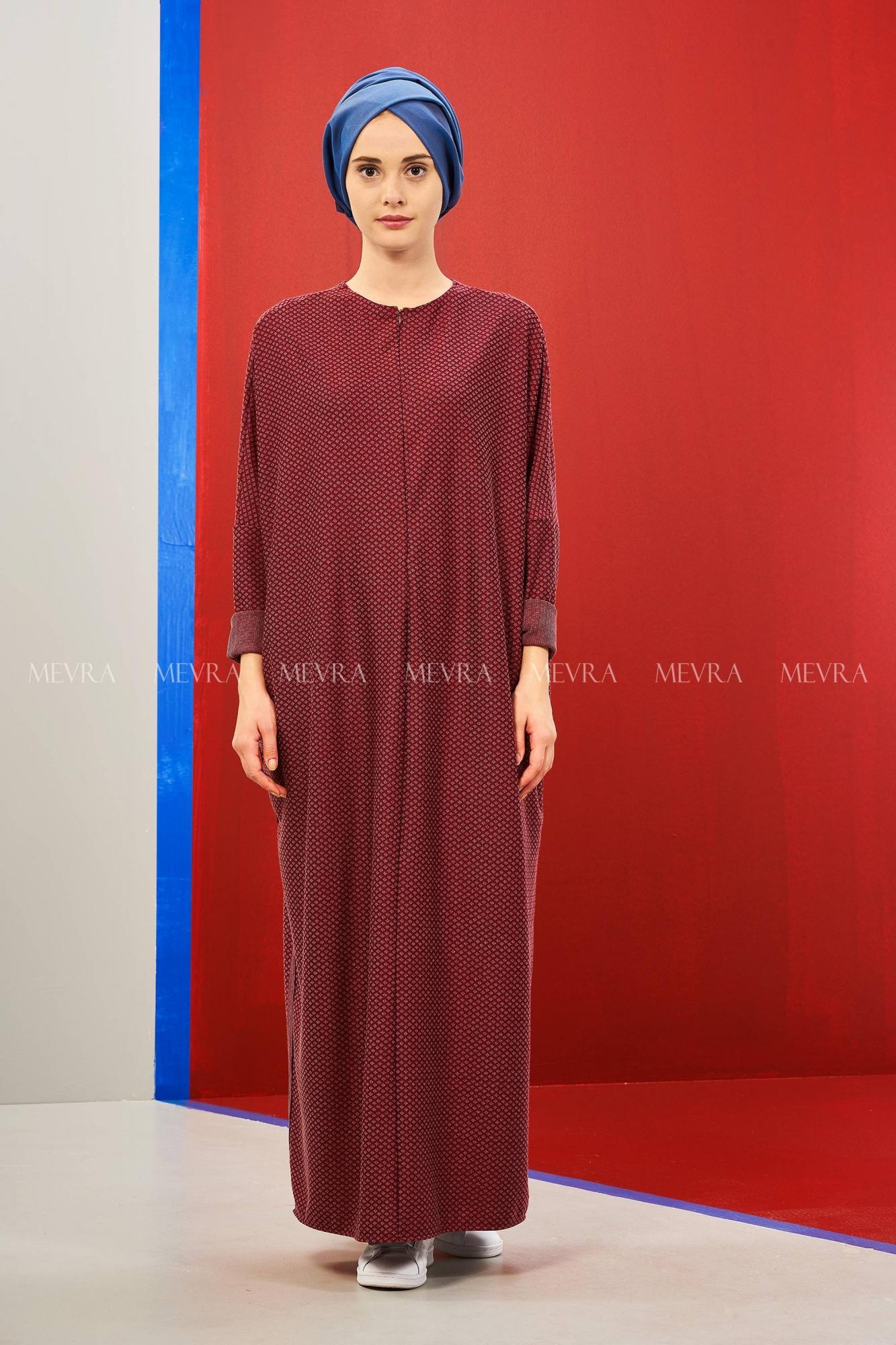acd93b80bc50a Delta Elbise Bordo   Tesettür Giyim   Tesettür Elbise