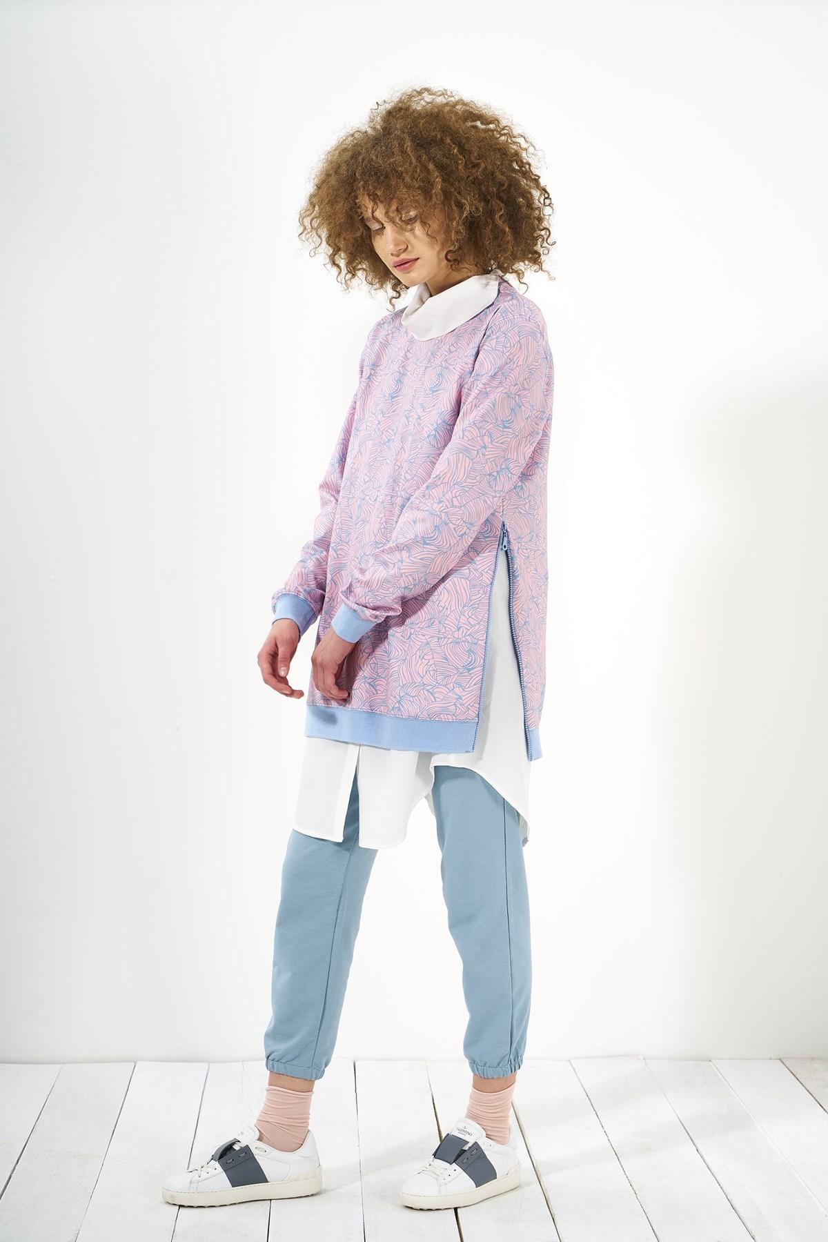 Mevra - Desenli Sweatshirt Lila