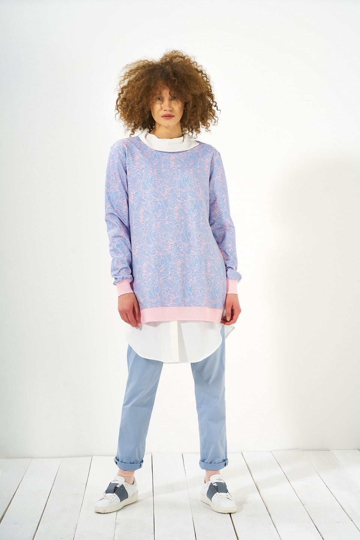 Mevra - Desenli Sweatshirt Mavi