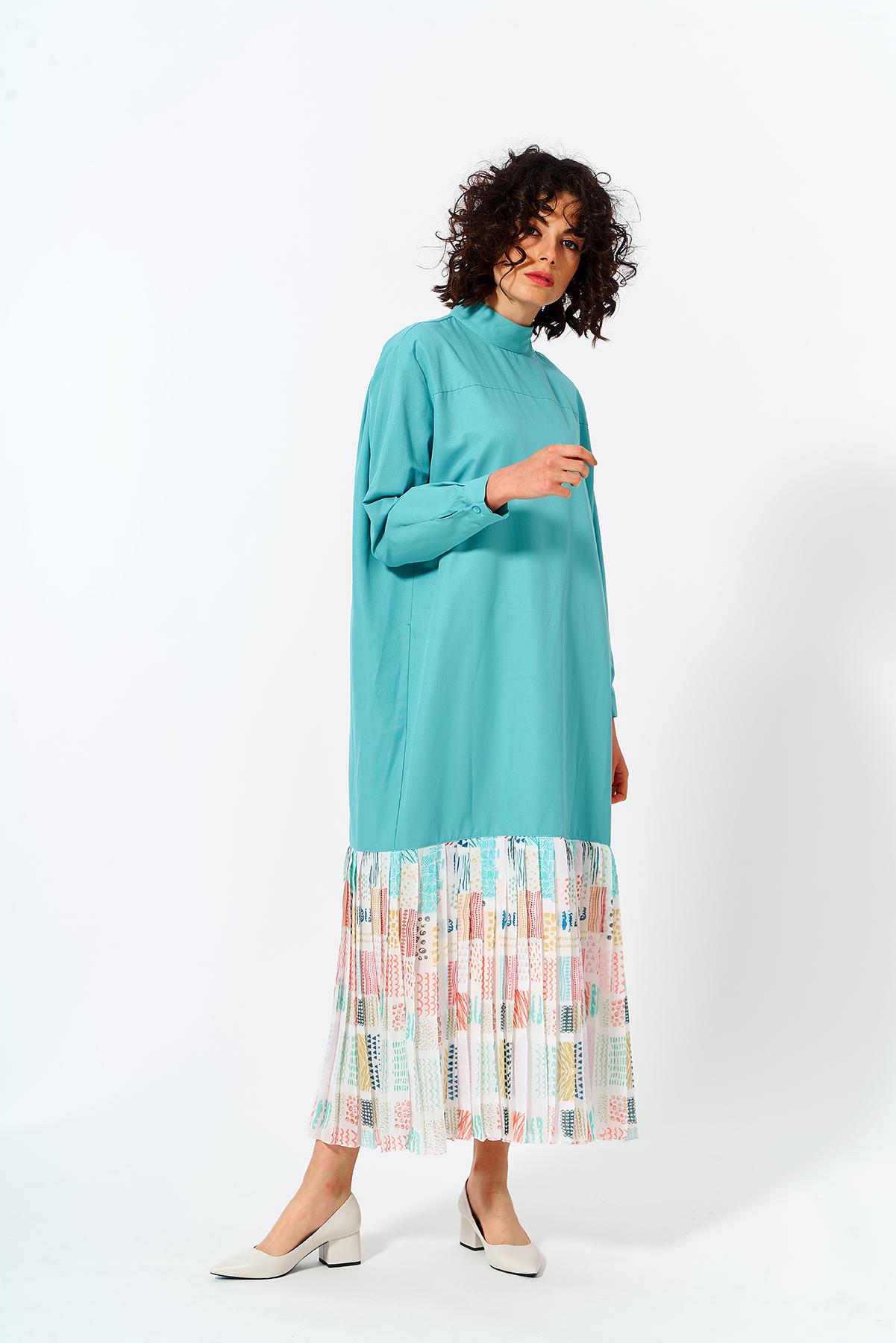 Mevra - Eteği Pliseli Elbise Mint