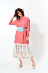 Eteği Pliseli Elbise Pudra - Thumbnail
