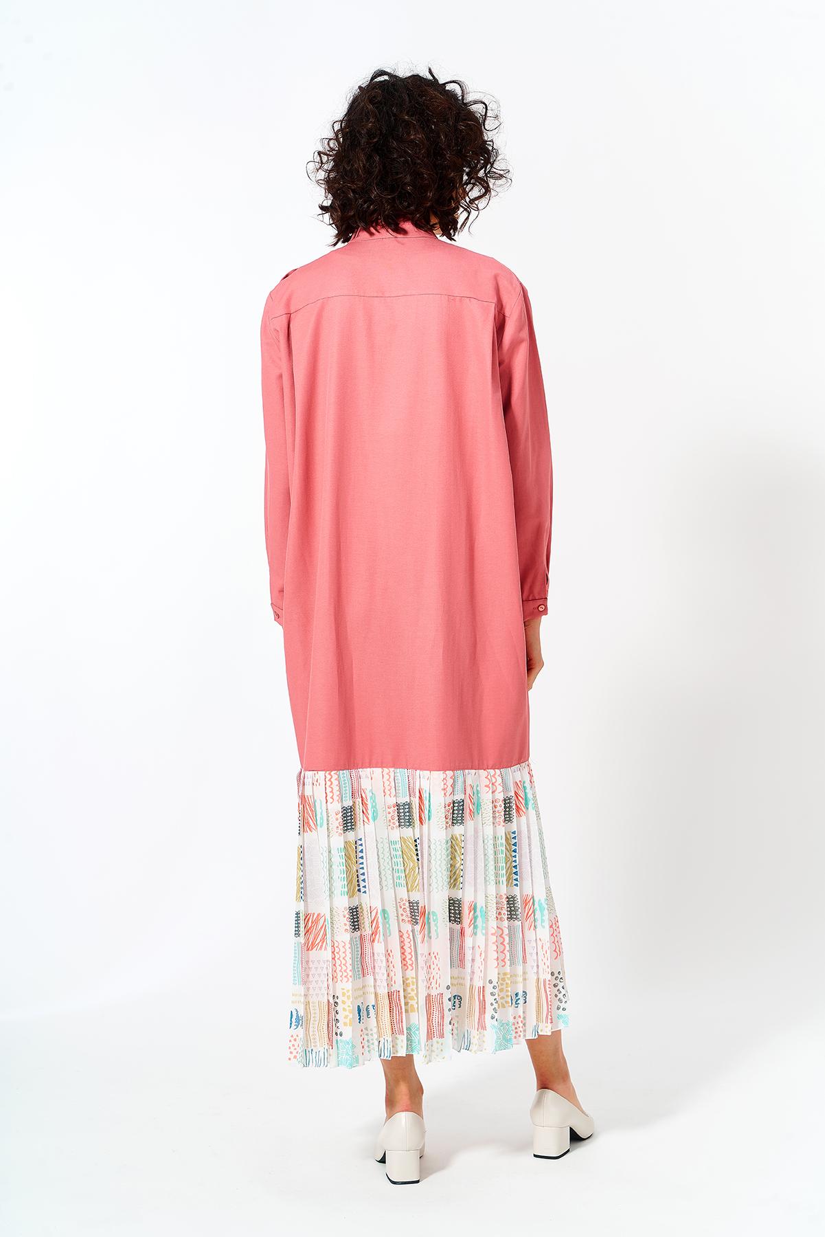 Eteği Pliseli Elbise Pudra