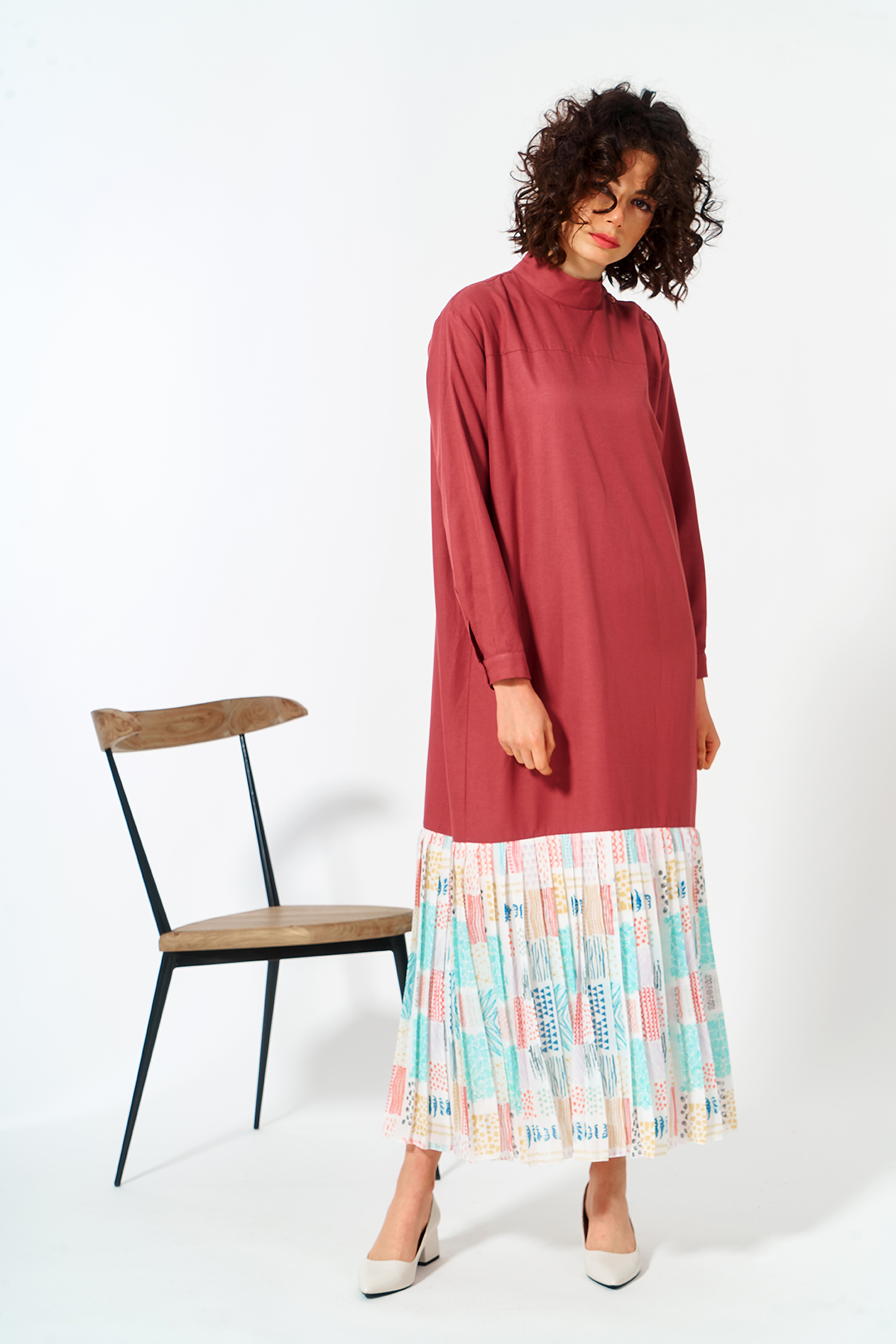 Mevra - Eteği Pliselli Elbise Gül Kurusu