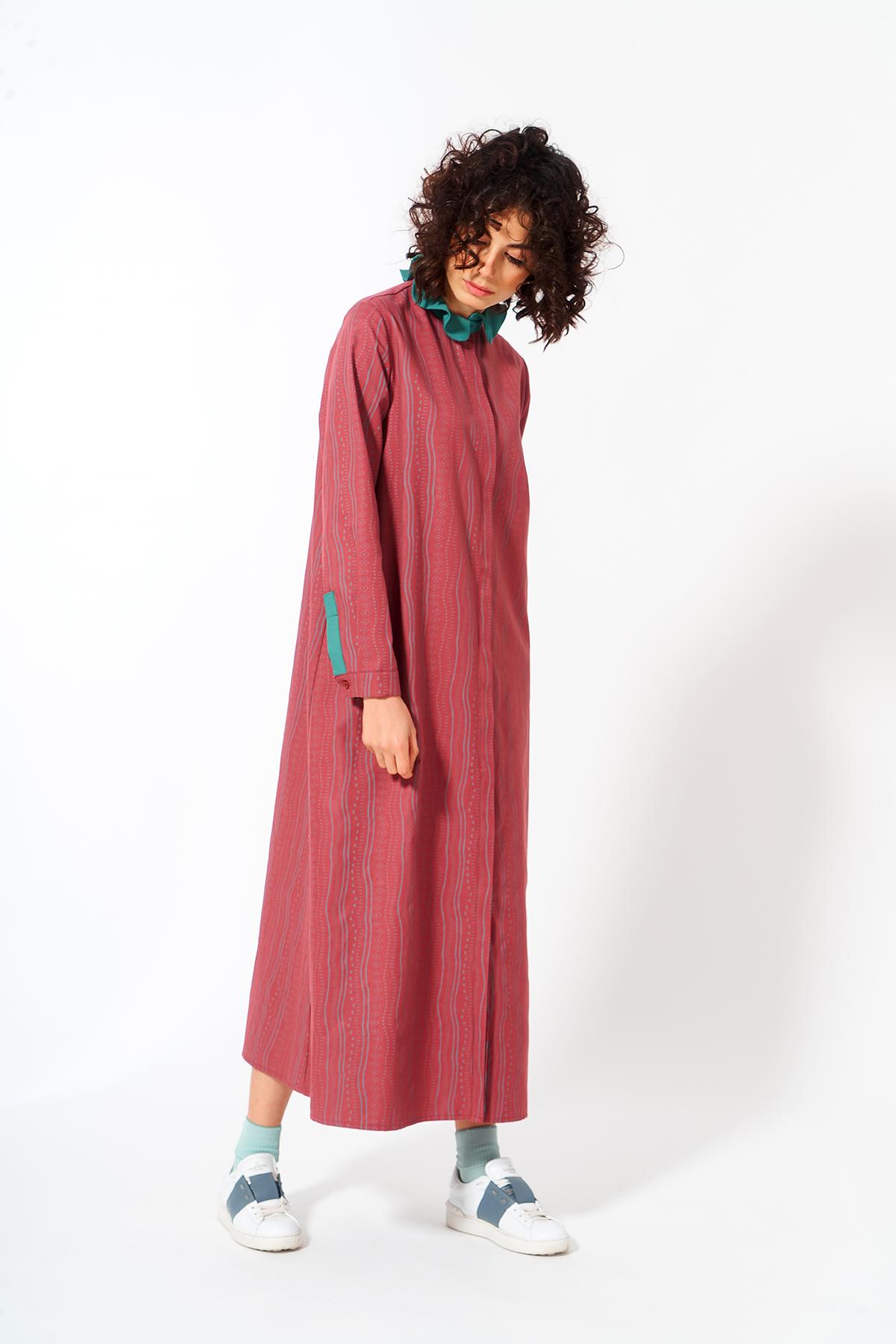 Mevra - Fırfır Yaka Elbise Gül Kurusu