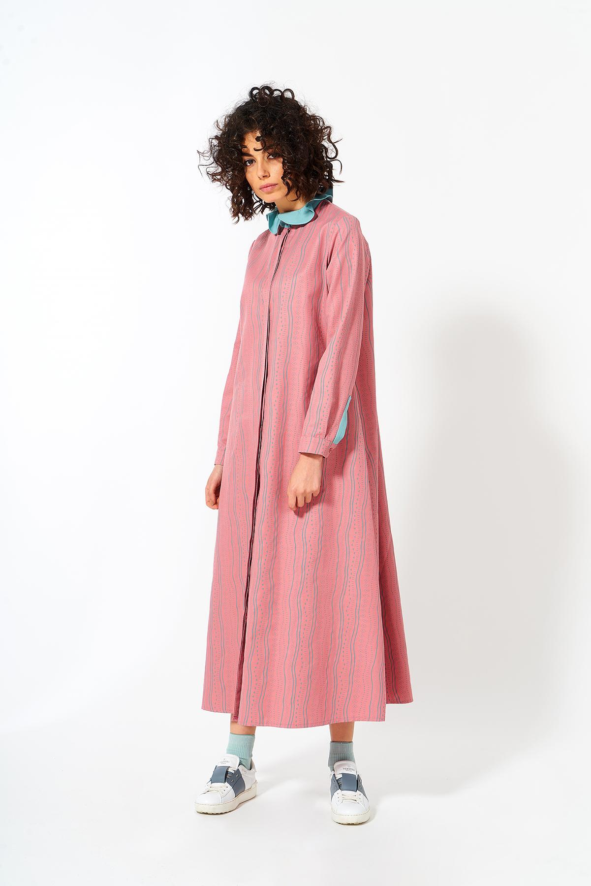 Mevra - Fırfır Yaka Elbise Pudra