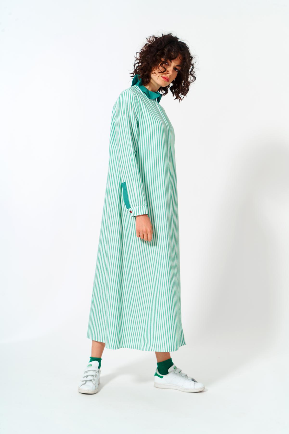 Mevra - Fırfır Yaka Elbise Yeşil