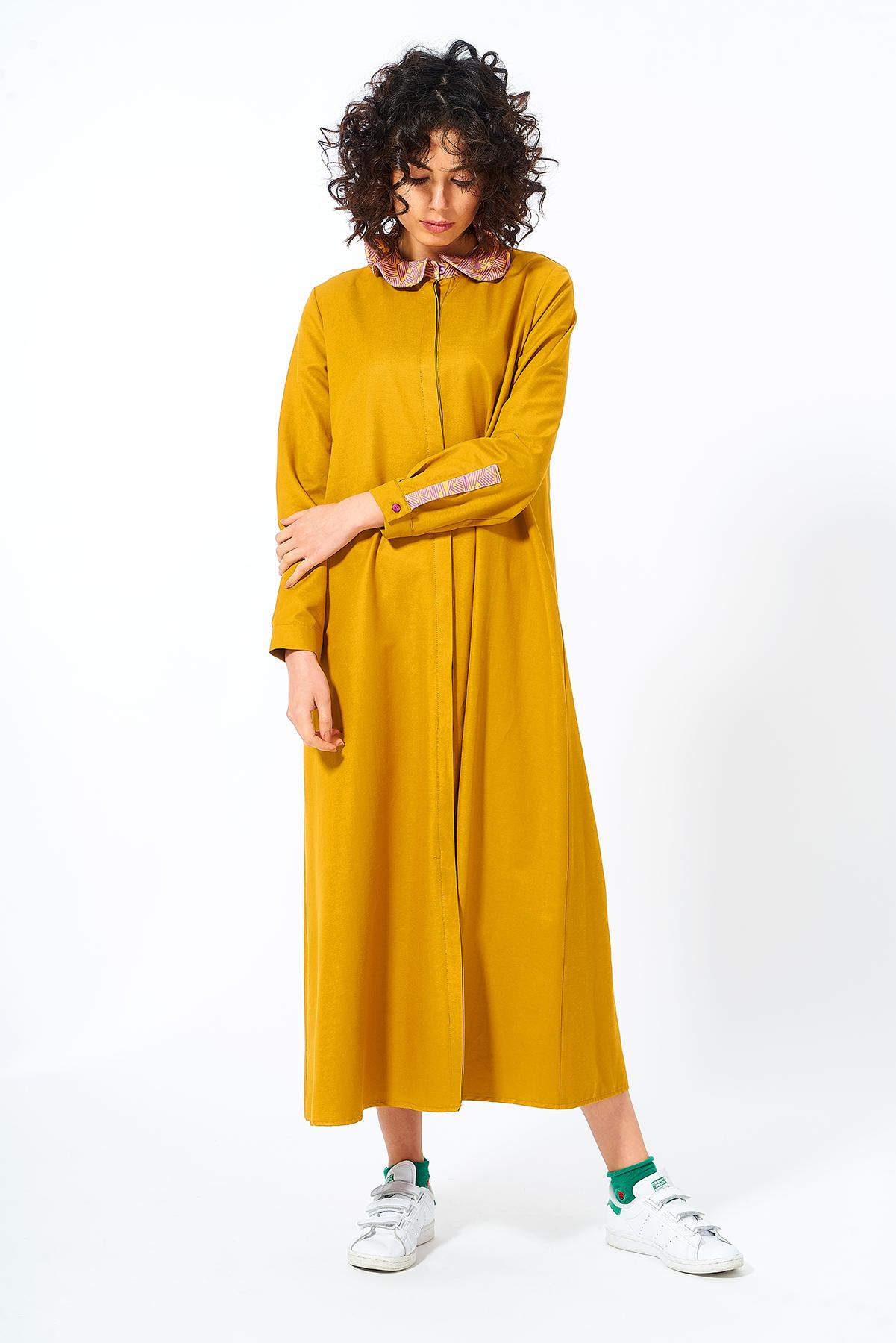Mevra - Fırfır Yaka Elbise Hardal