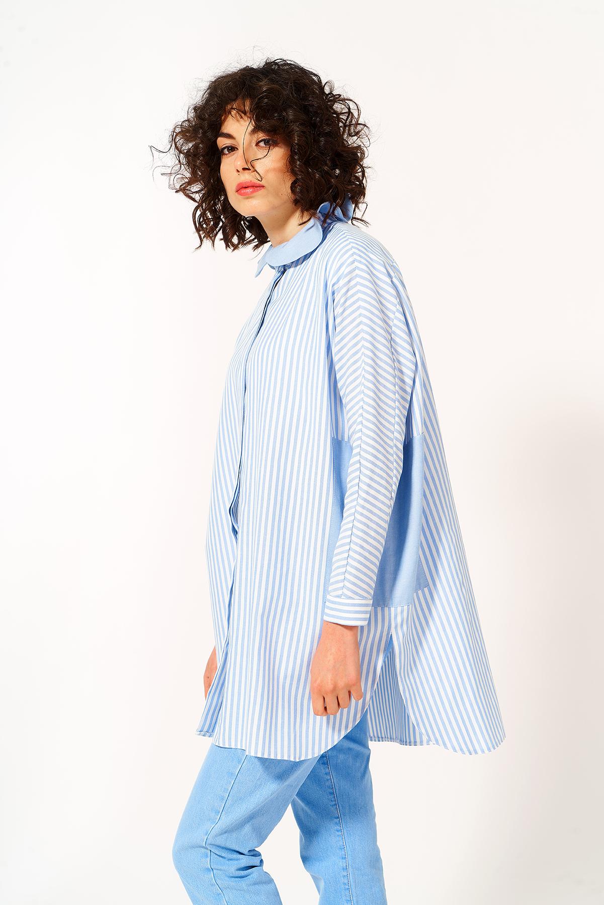 Mevra - Fırfır Yaka Tunik Mavi