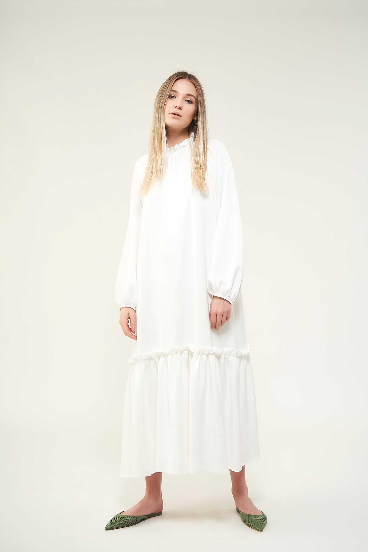 Mevra - Fırfırlı Elbise Beyaz