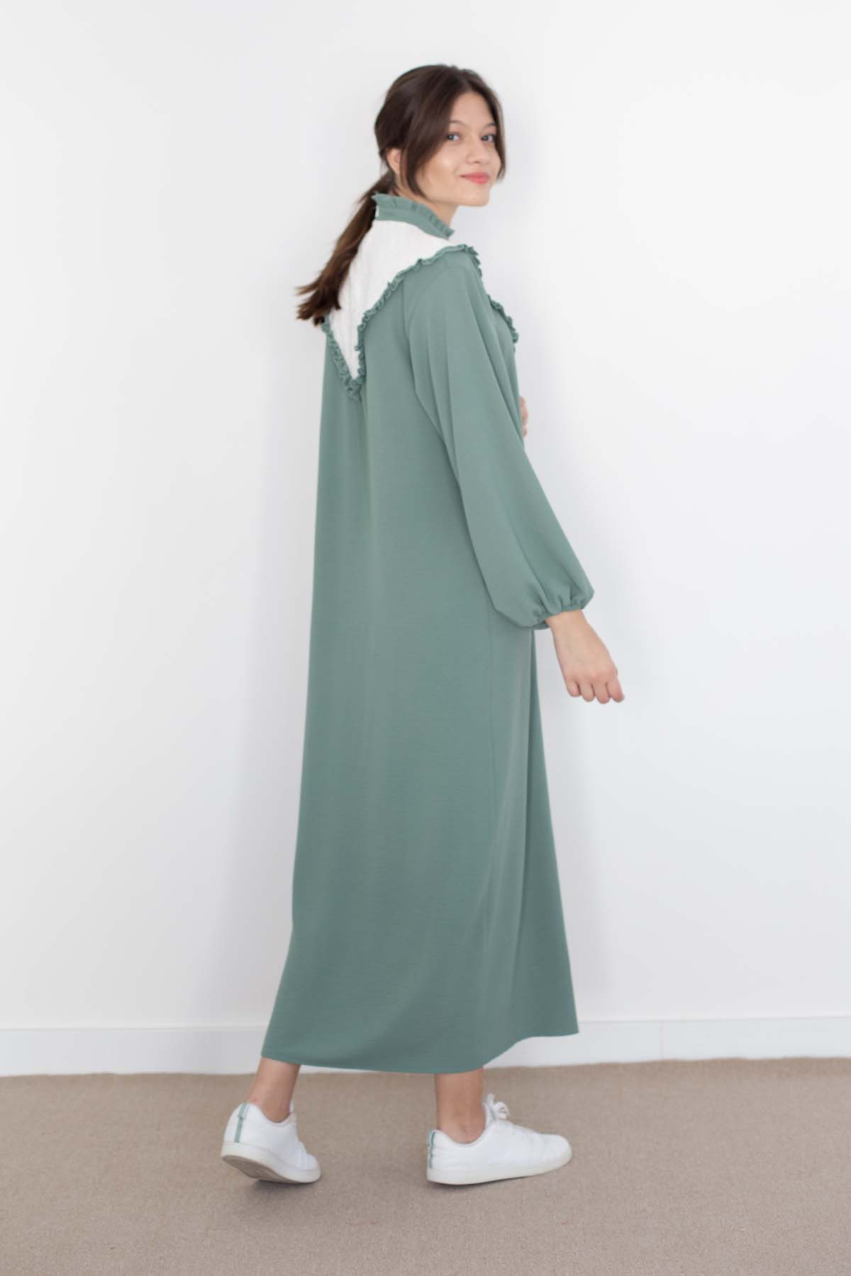 Mevra - Fırfırlı Elbise Mint