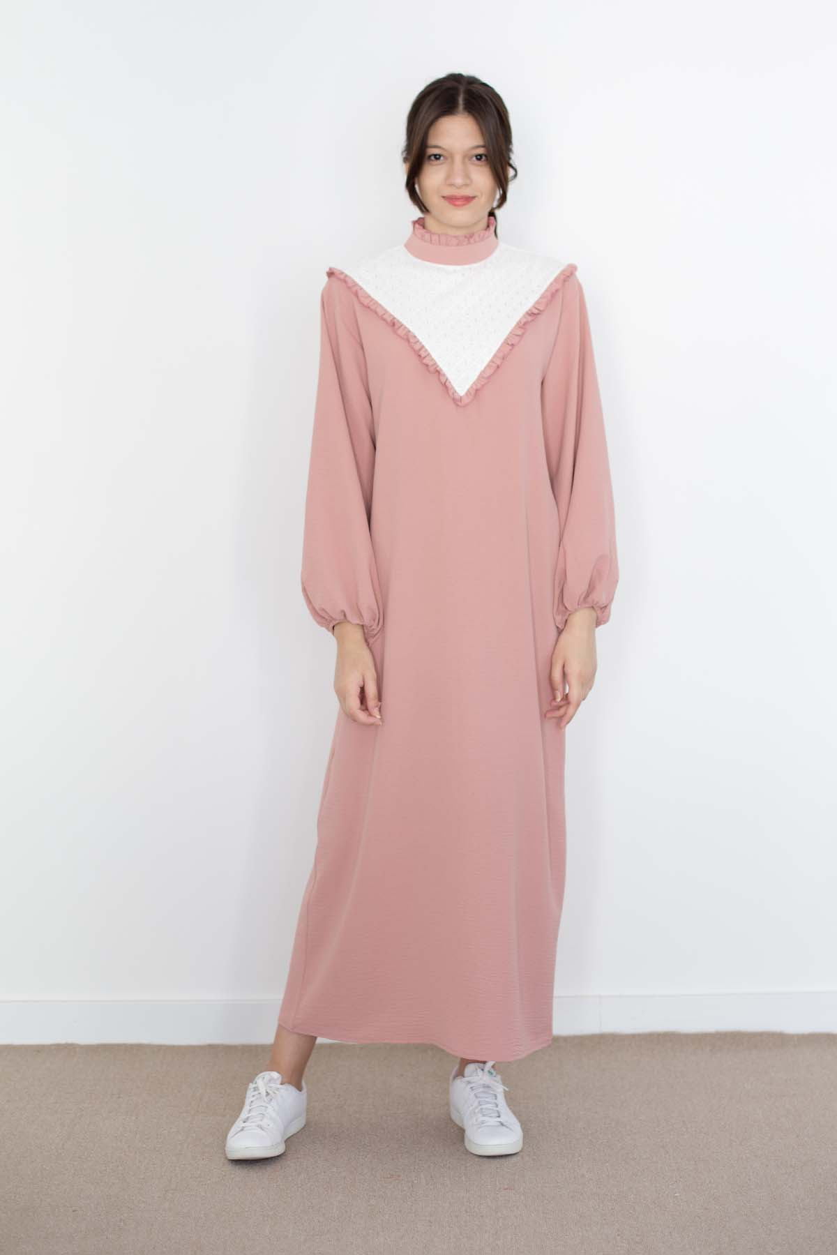 Mevra - Fırfırlı Elbise Pudra