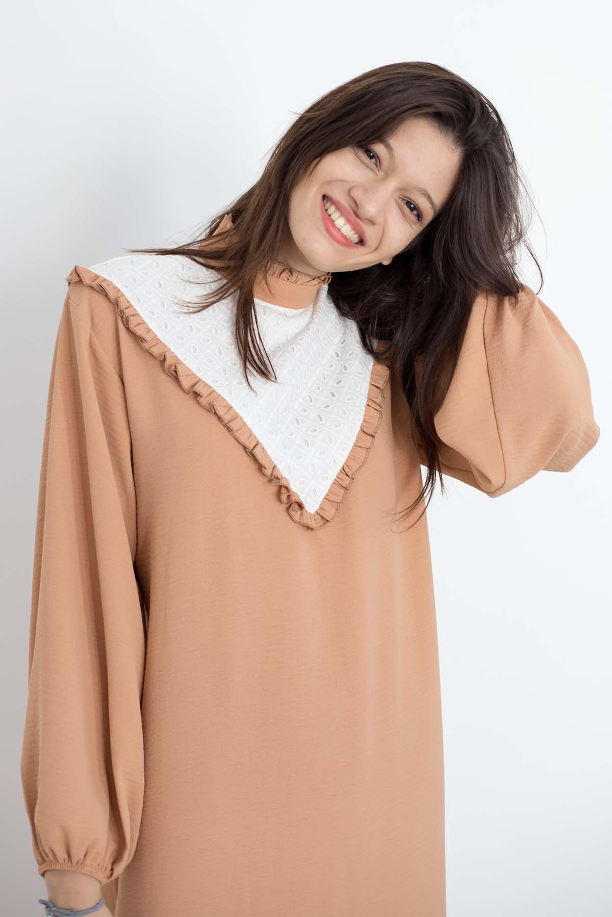 Mevra - Fırfırlı Elbise Somon