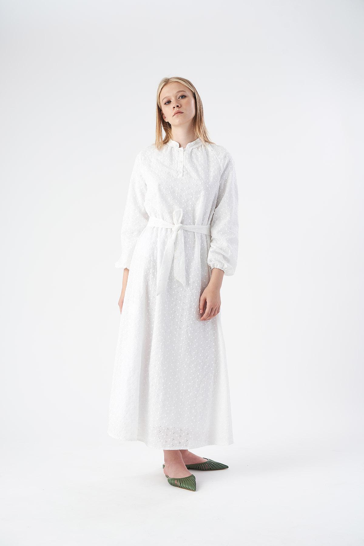 Mevra - Fisto Elbise Ekru