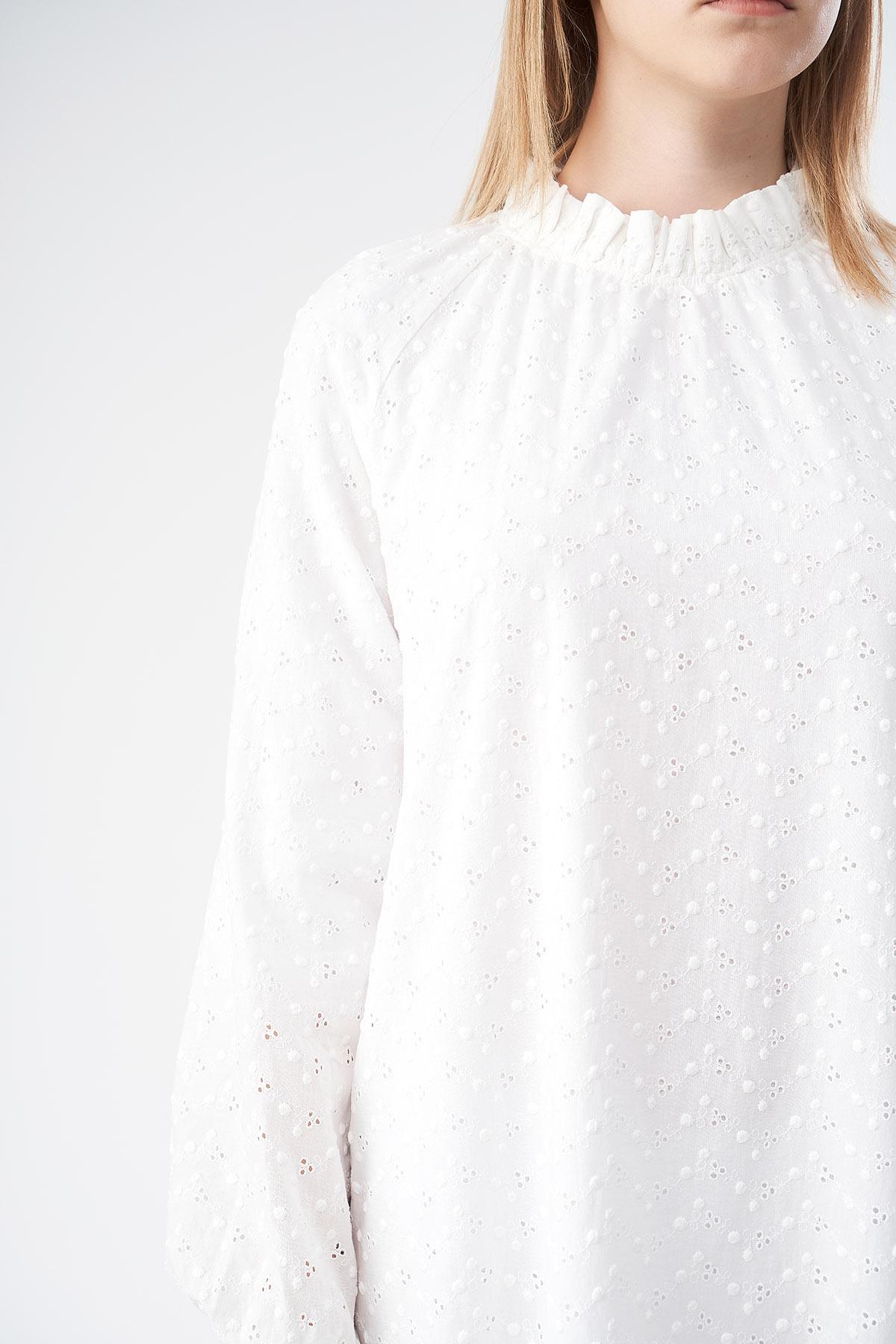 Mevra - Fistolu Fırfırlı Elbise Ekru