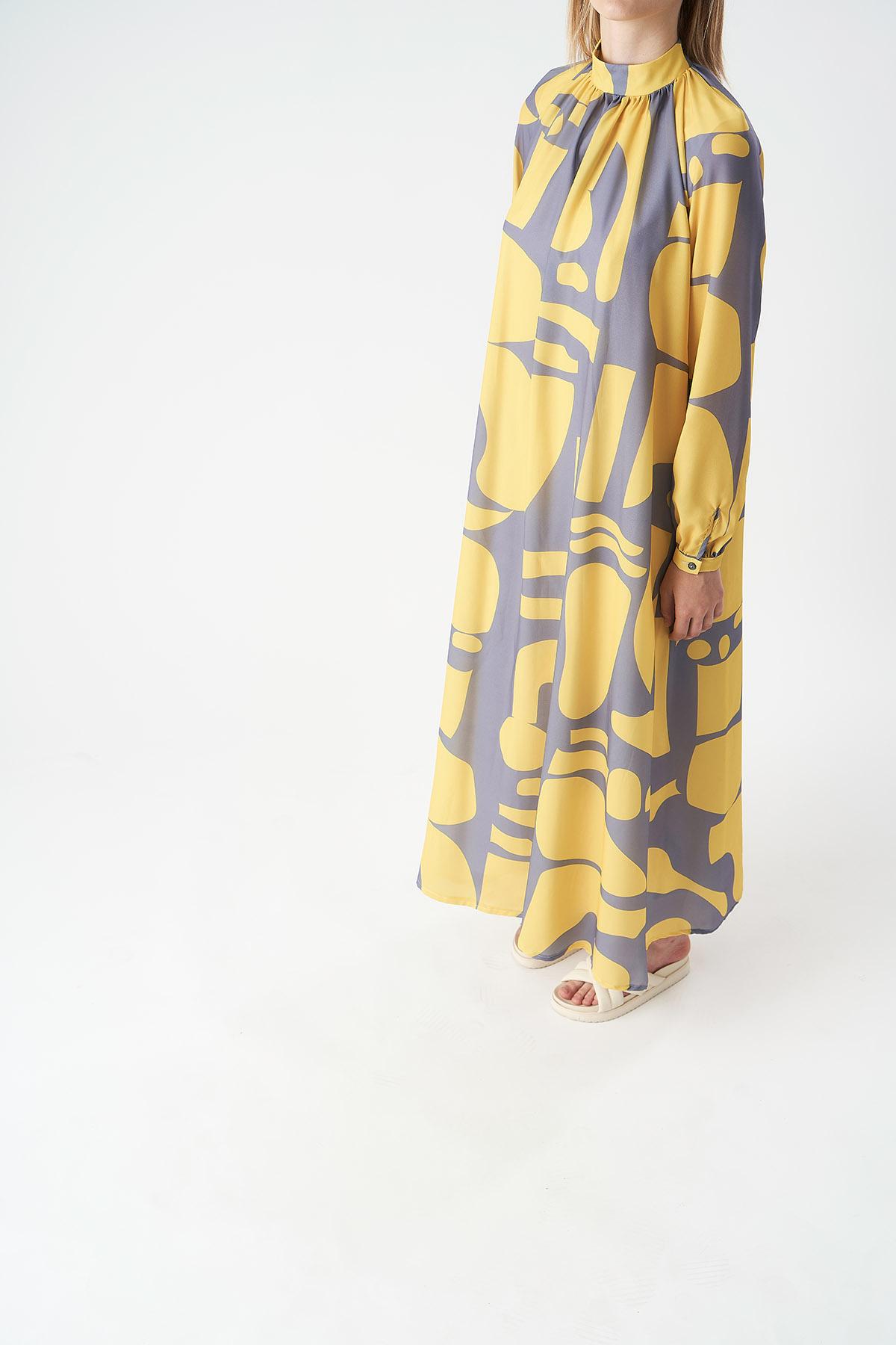 Mevra - Geo Desen Büzgülü Elbise