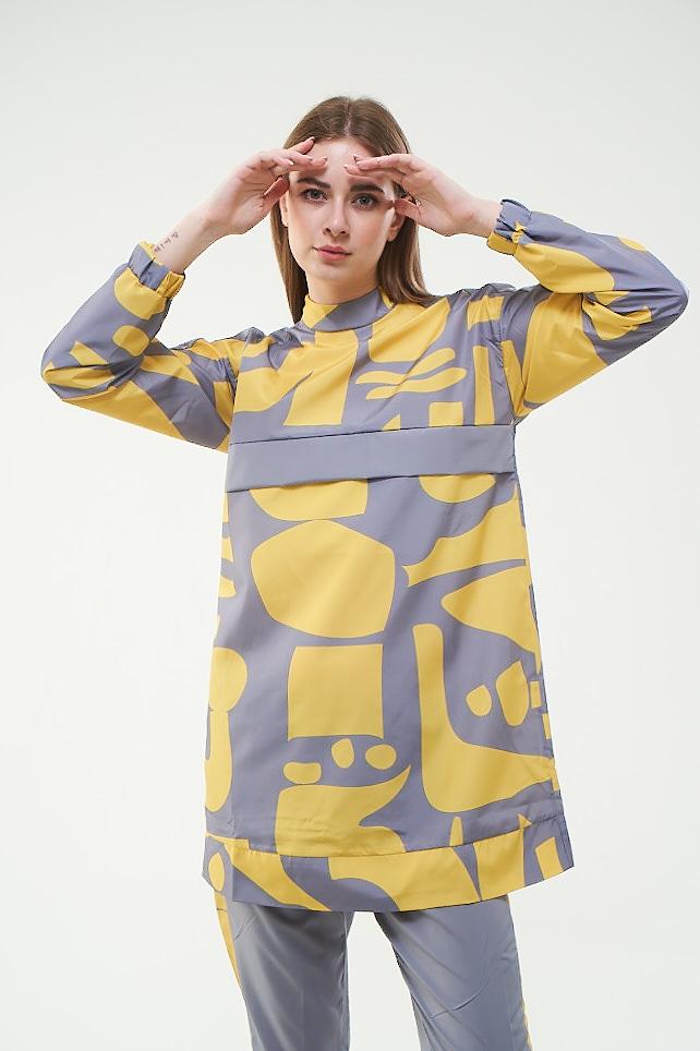 Mevra - Geo Desenli Tesettür Mayo Sarı Kısa