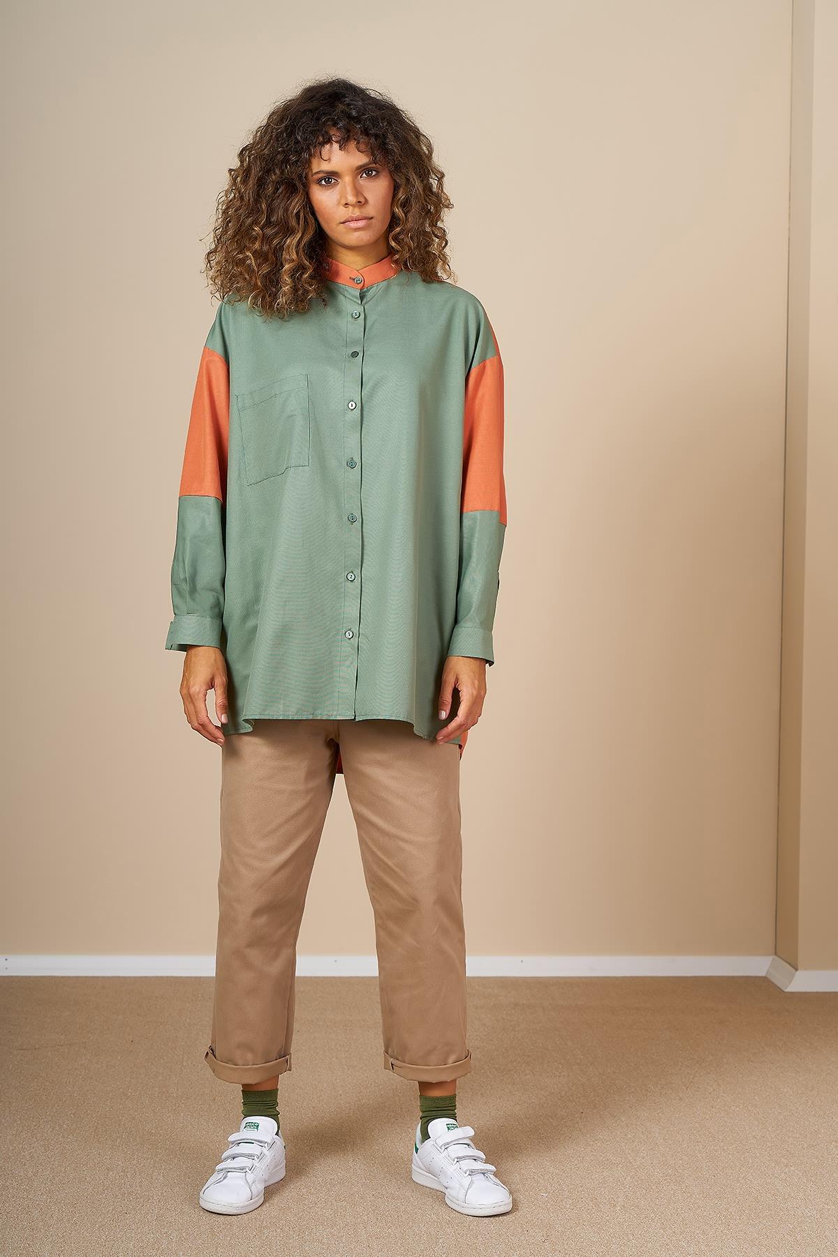 Mevra - İki Renk Tunik Yeşil