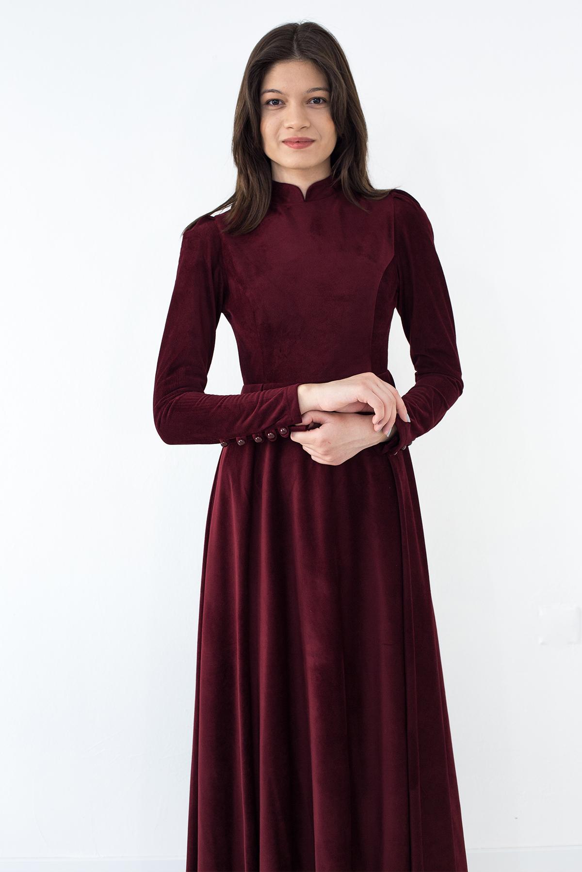 Mevra - Kadife Elbise Bordo