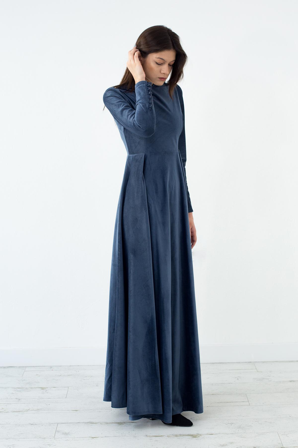 Mevra - Kadife Elbise İndigo