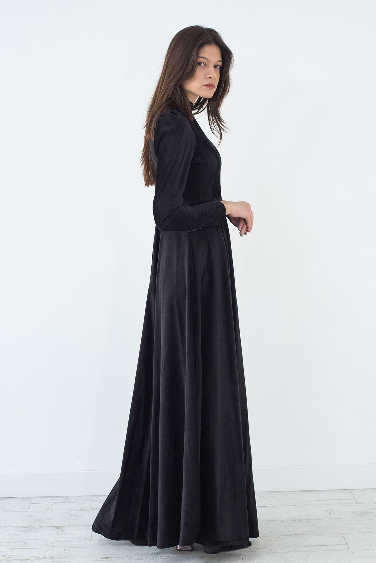 Mevra - Kadife Elbise Siyah