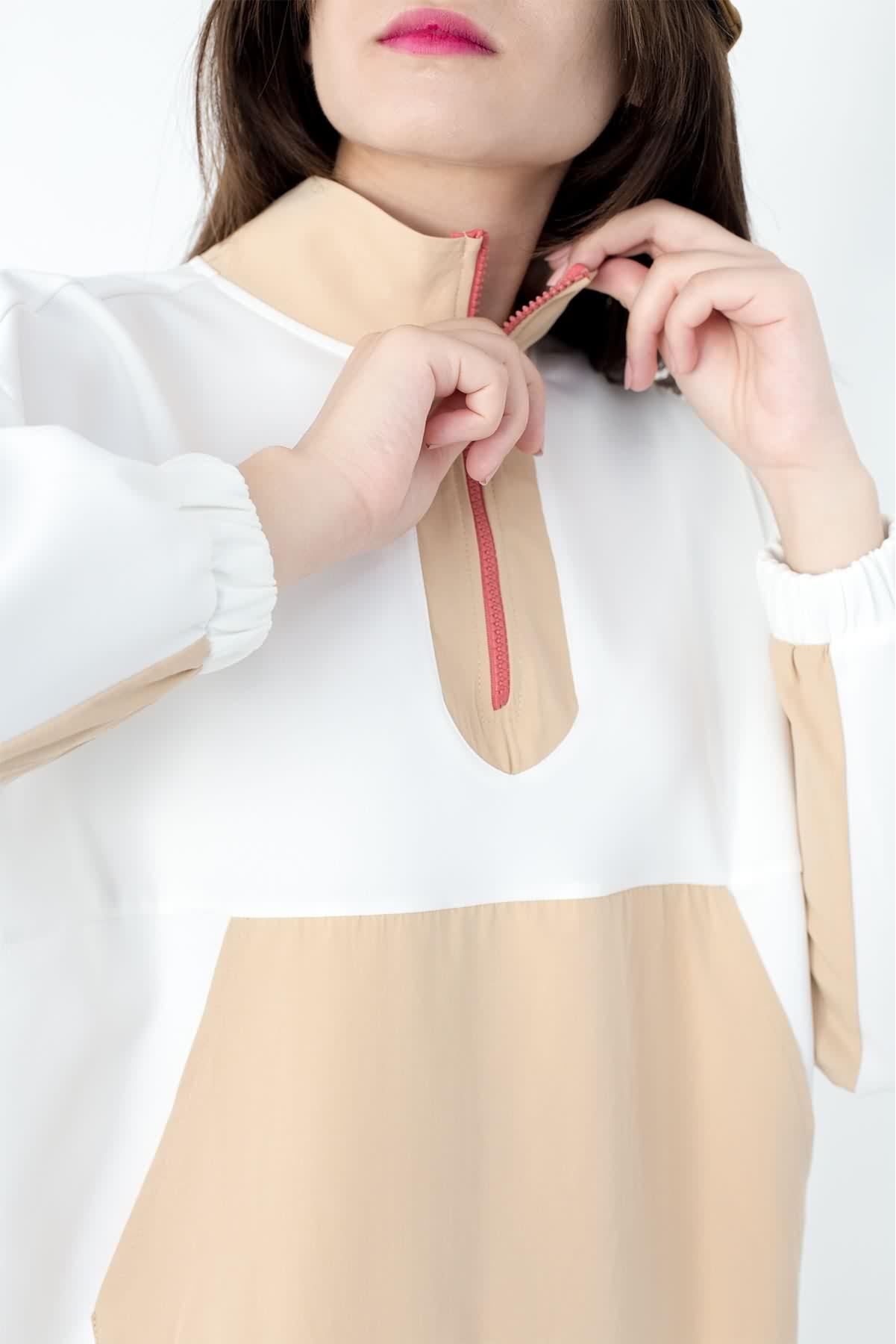 Mevra - Kanguru Cep Sweatshirt Ekru Bej