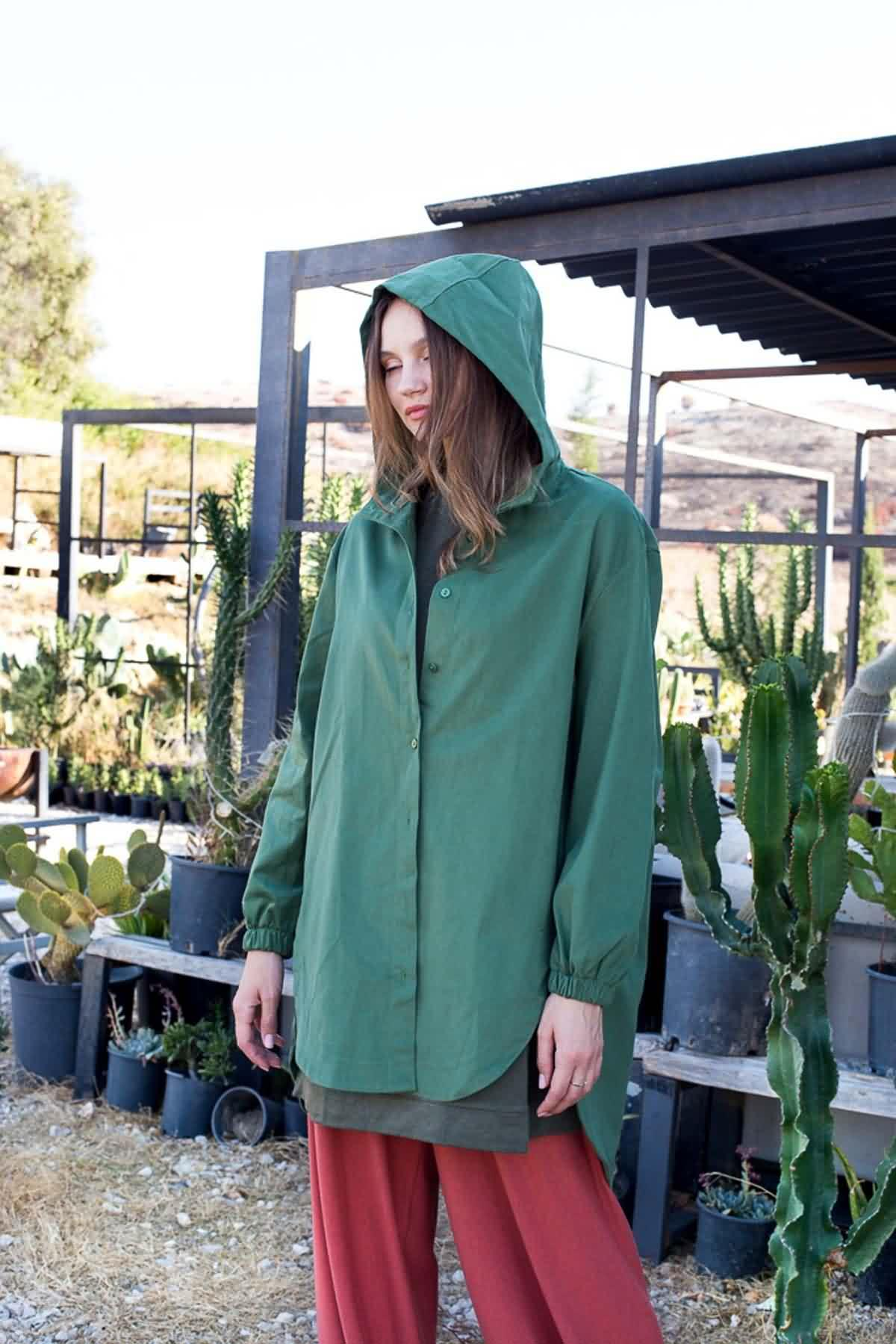 Mevra - Kapüşonlu Ceket Haki
