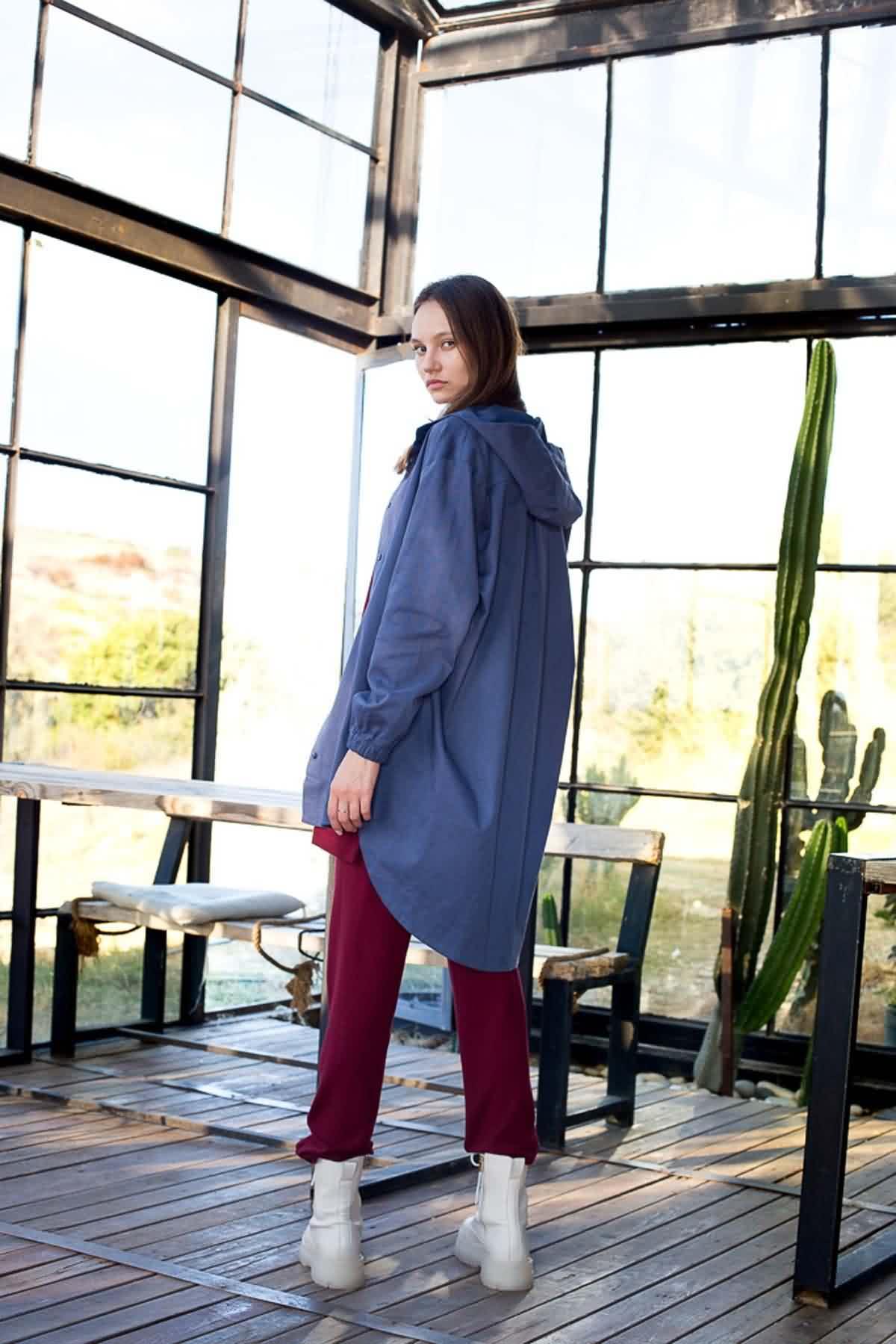 Mevra - Kapüşonlu Ceket İndigo