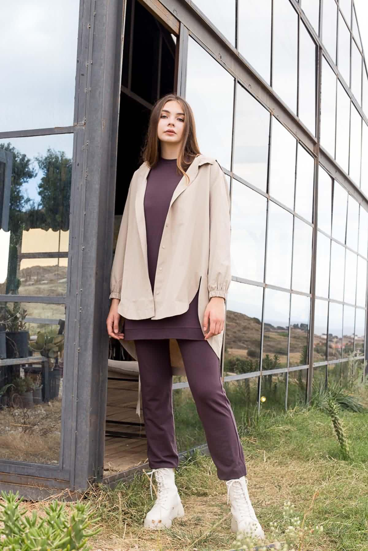 Mevra - Kapüşonlu Ceket Taş
