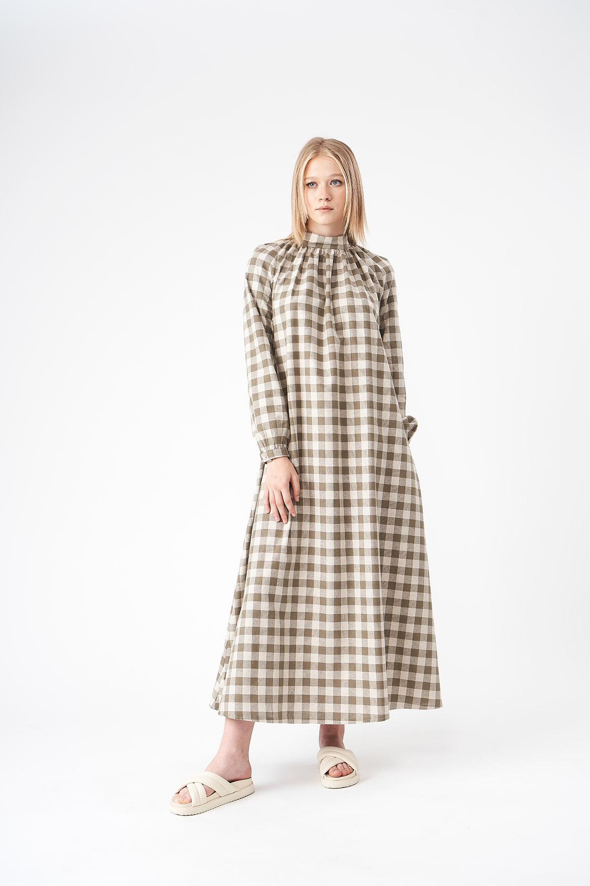 Mevra - Kareli Keten Elbise Haki