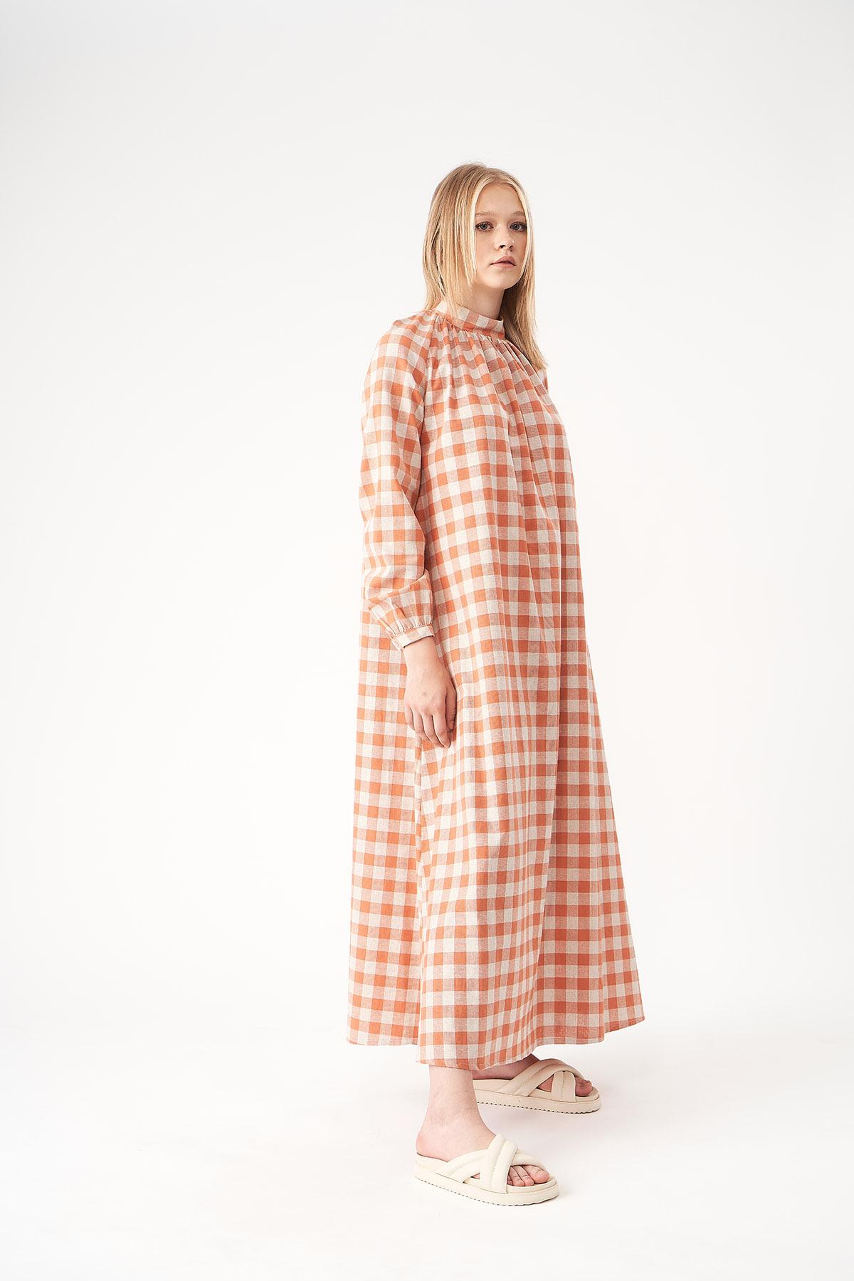 Mevra - Kareli Keten Elbise Nar