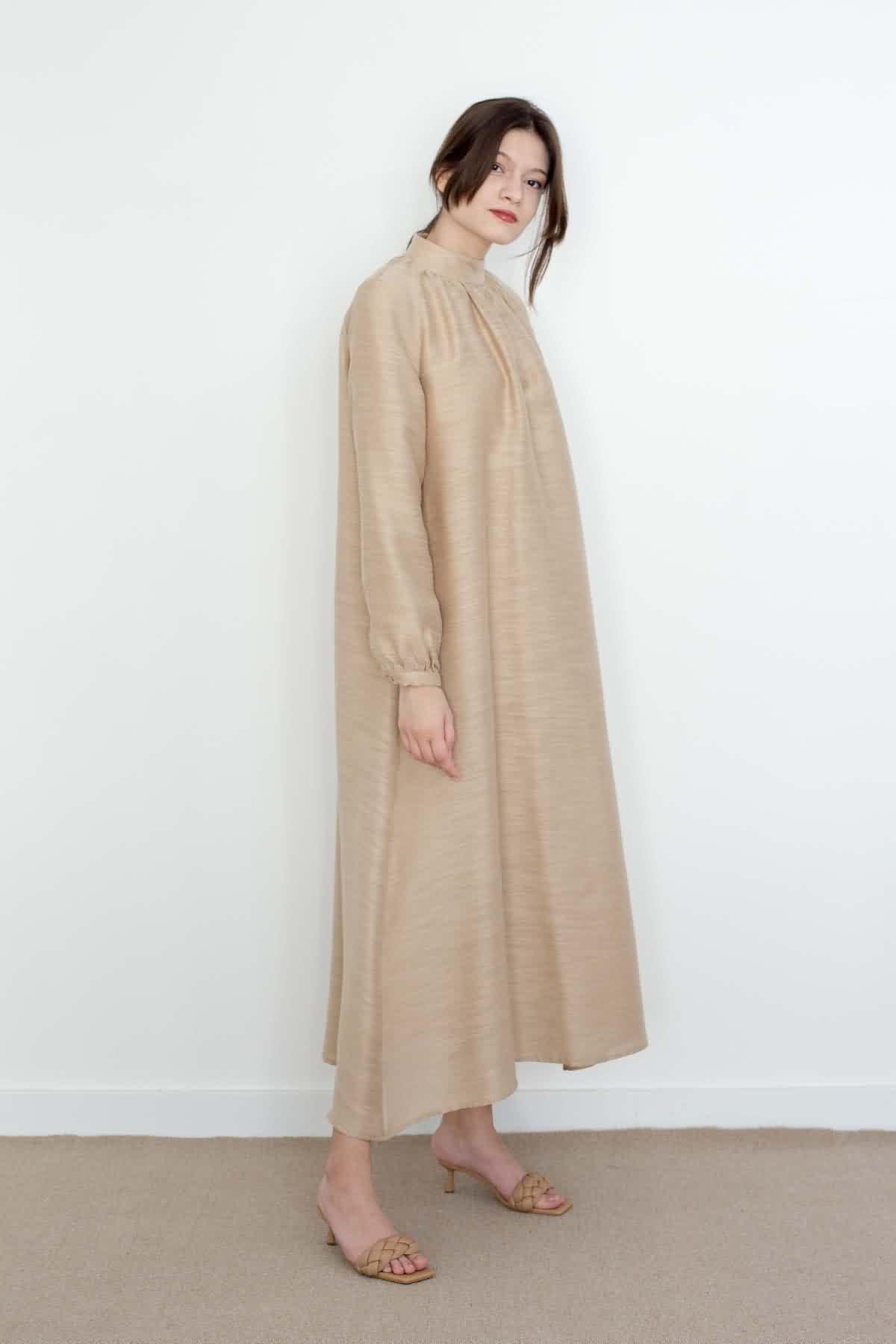 Mevra - Keten Görünümlü Elbise Bej