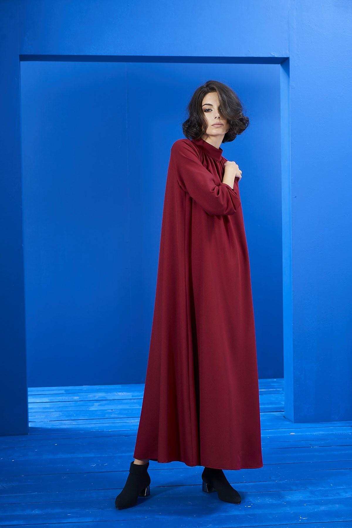 Mevra - Kırmızı Büzgülü Elbise