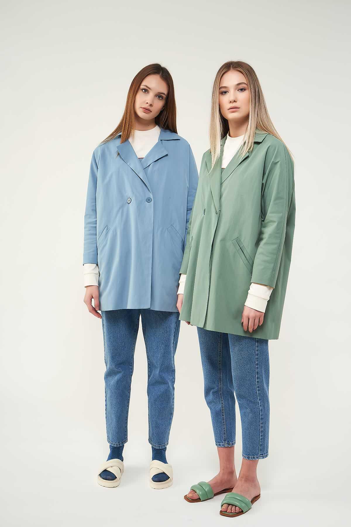 Mevra - Kruvaze Blazer Ceket Mavi