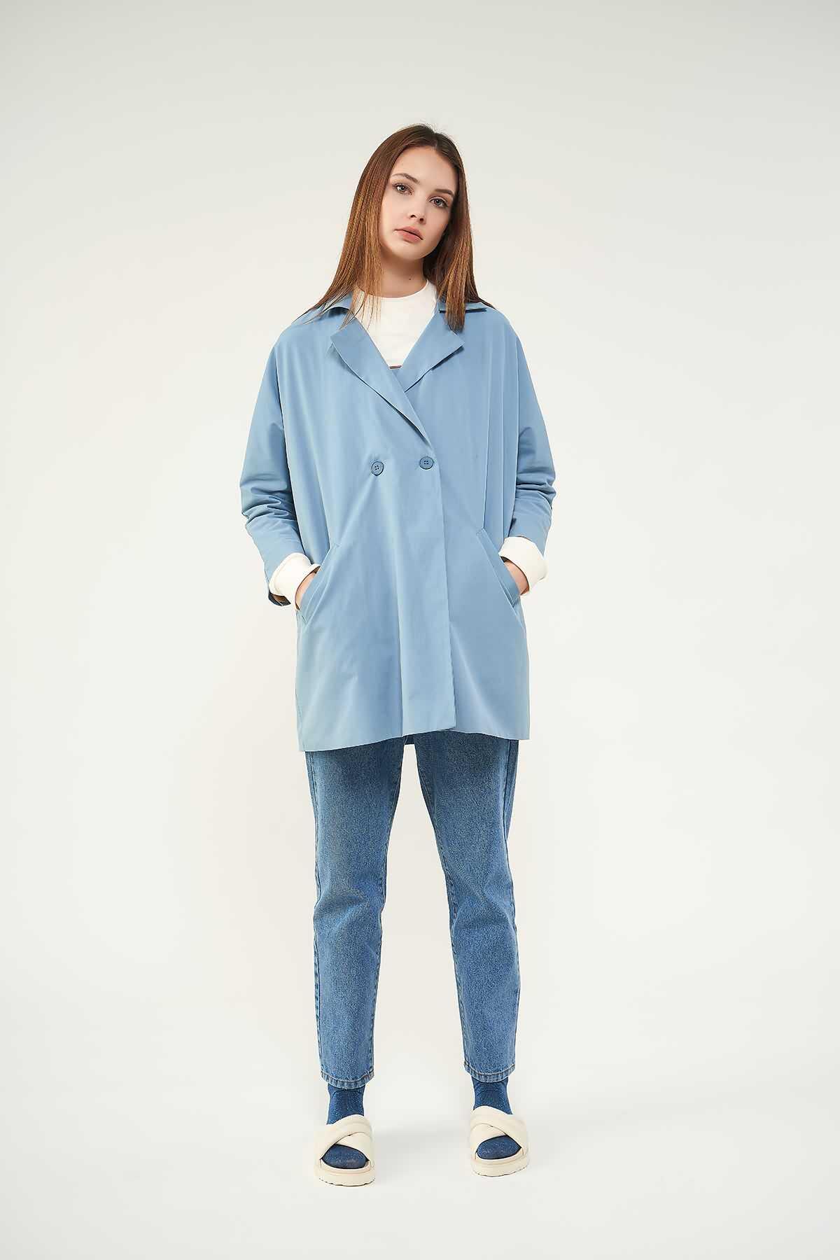 Kruvaze Blazer Ceket Mavi