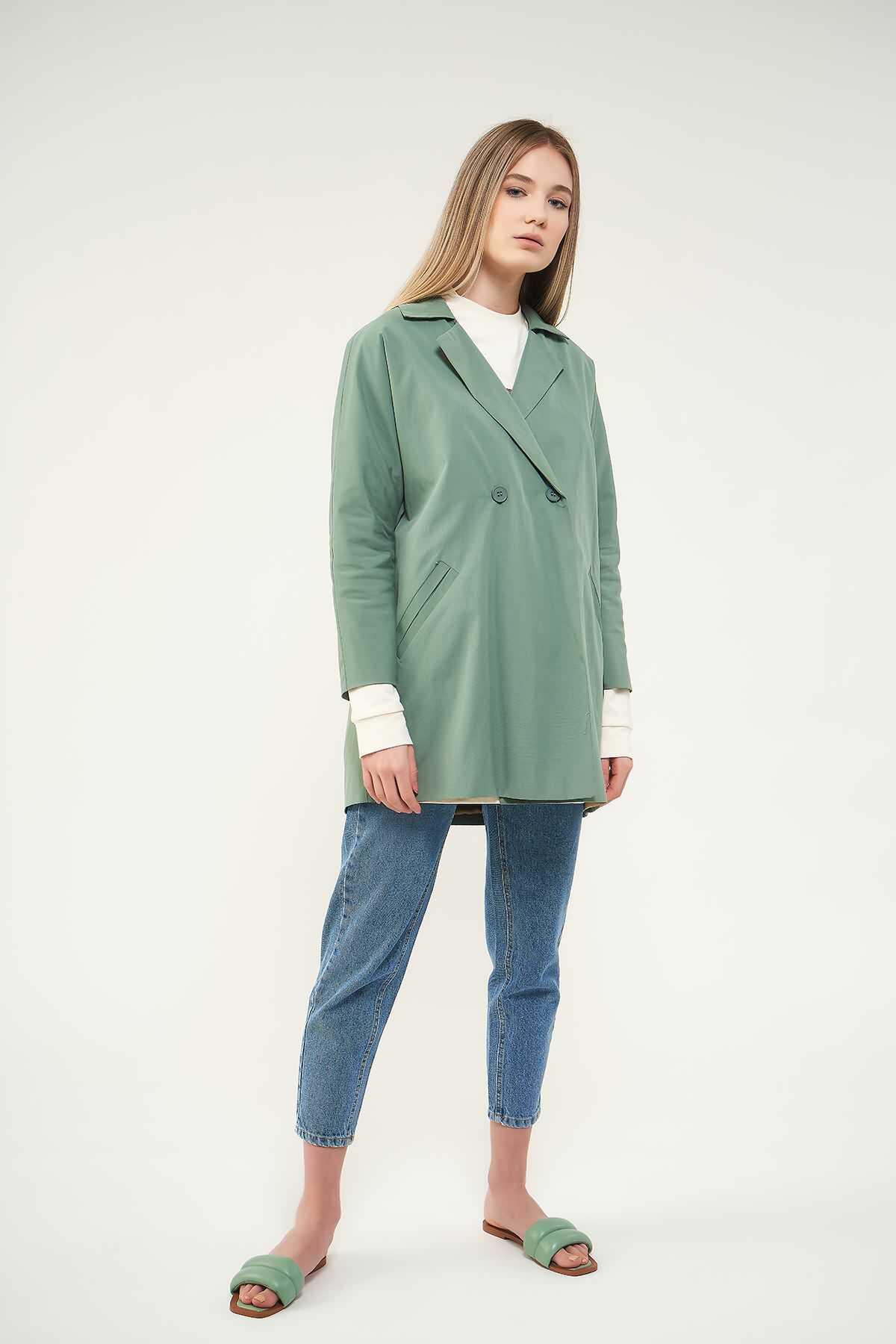 Mevra - Kruvaze Blazer Ceket Yeşil