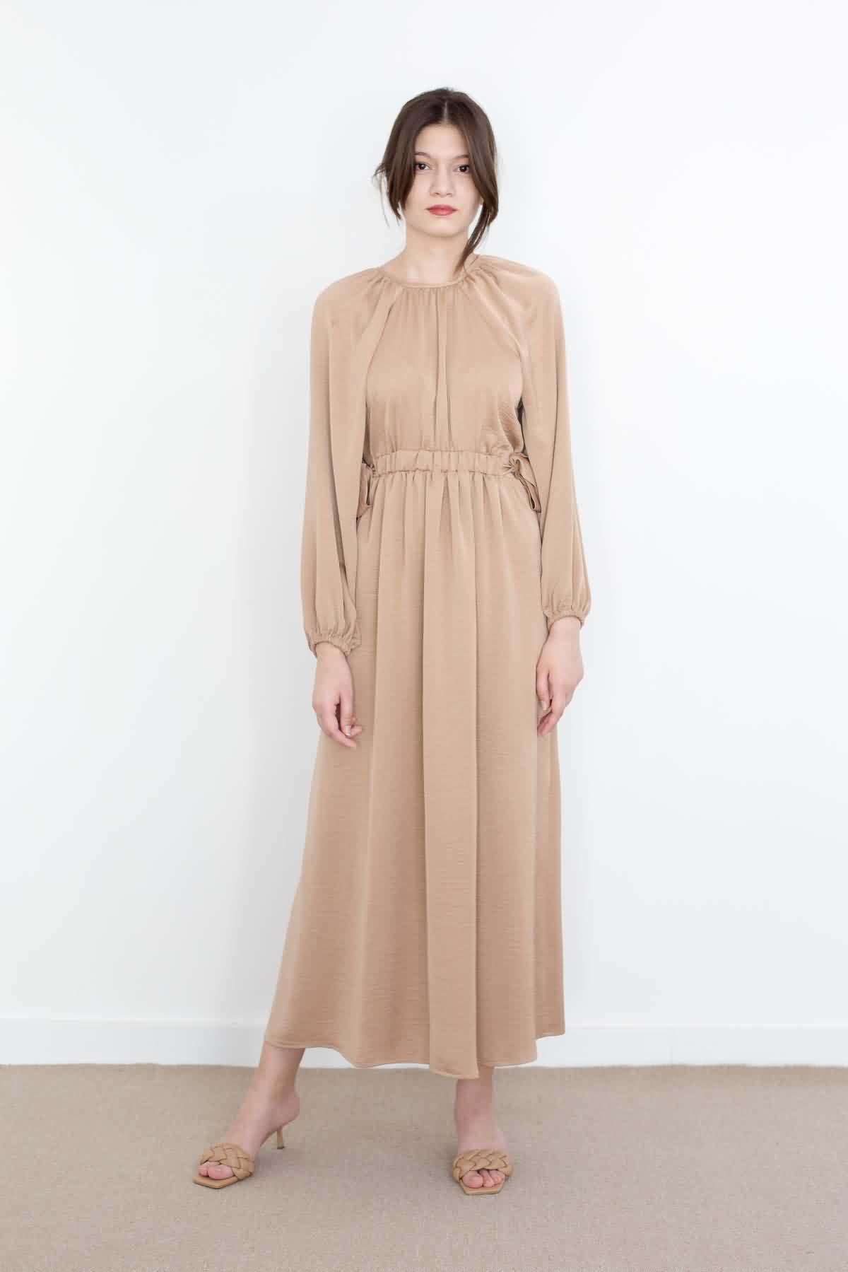 Mevra - Kuşaklı Elbise Bej