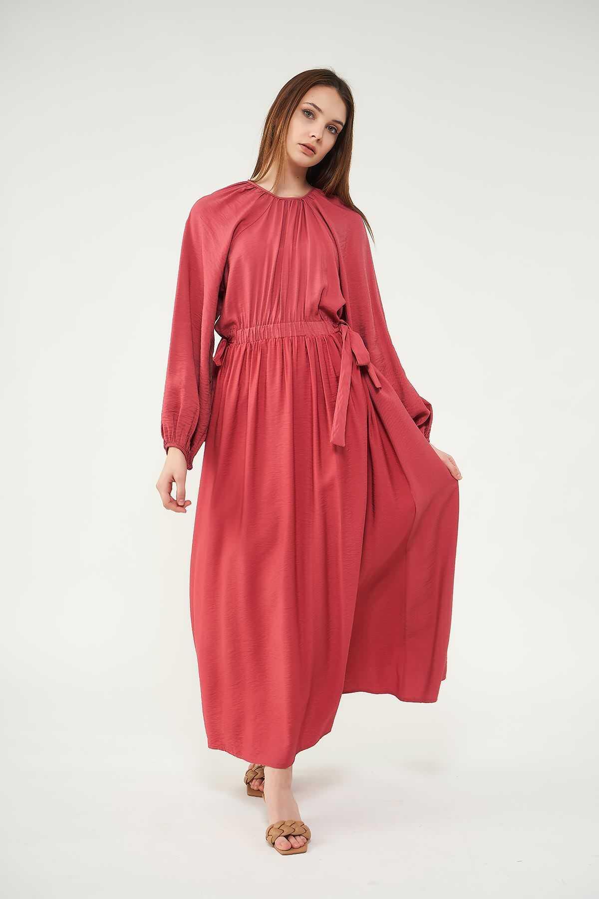 Mevra - Kuşaklı Elbise Gül Kurusu