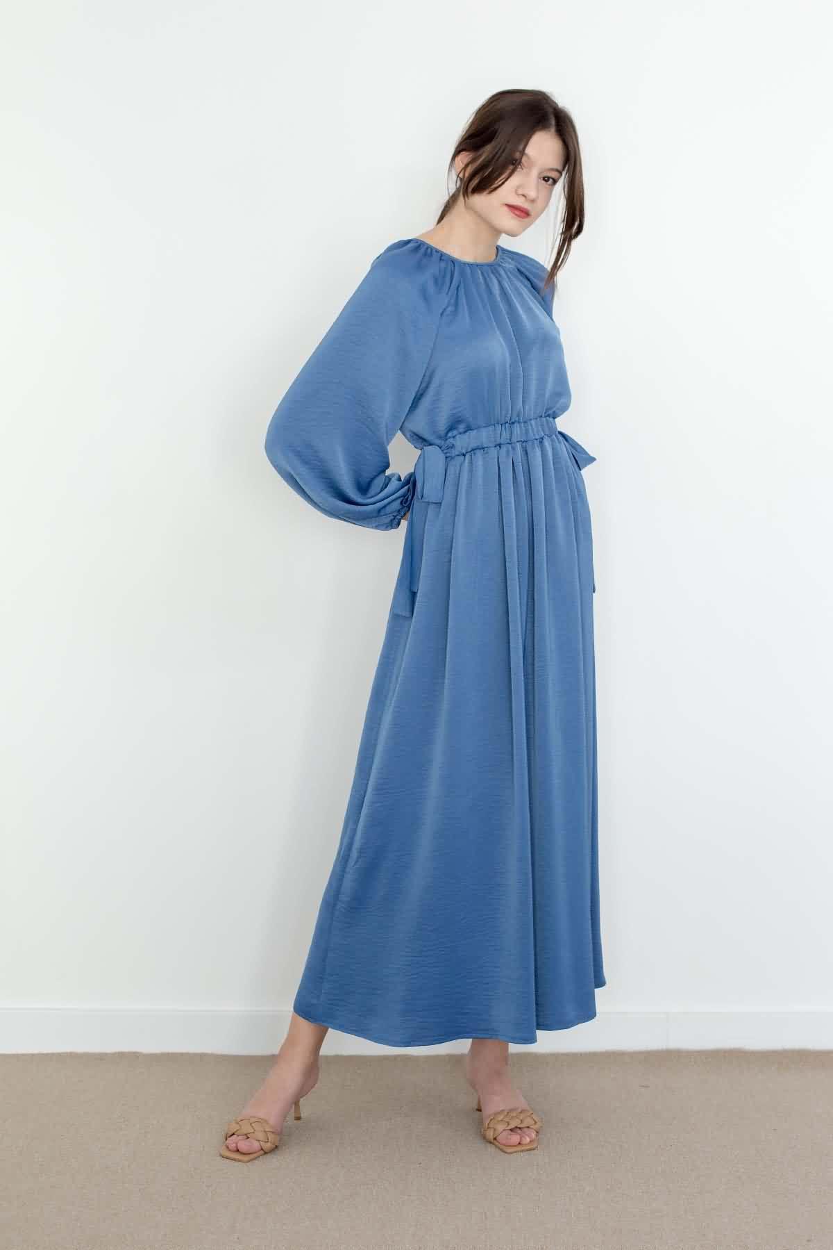 Mevra - Kuşaklı Elbise İndigo