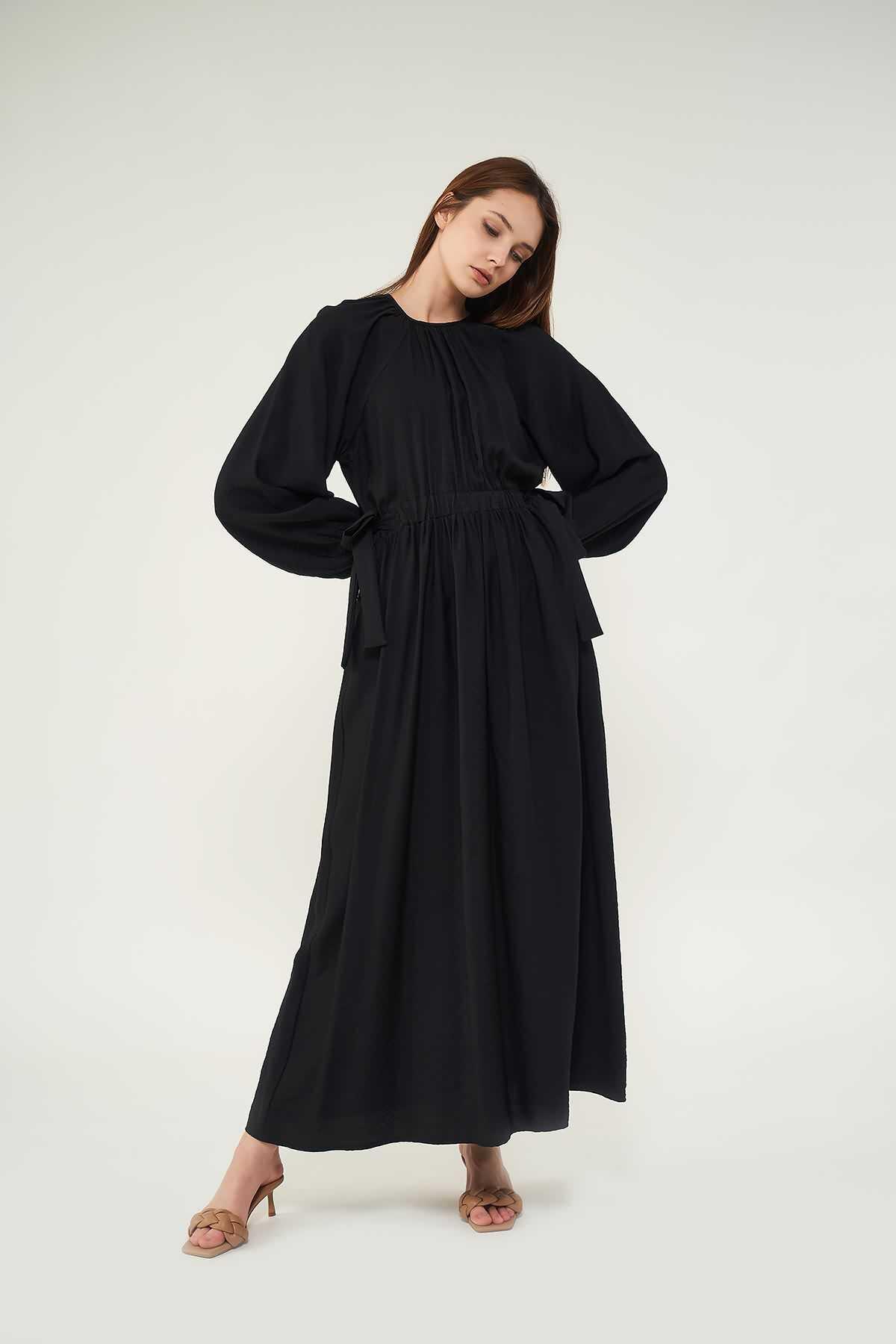 Mevra - Kuşaklı Elbise Siyah