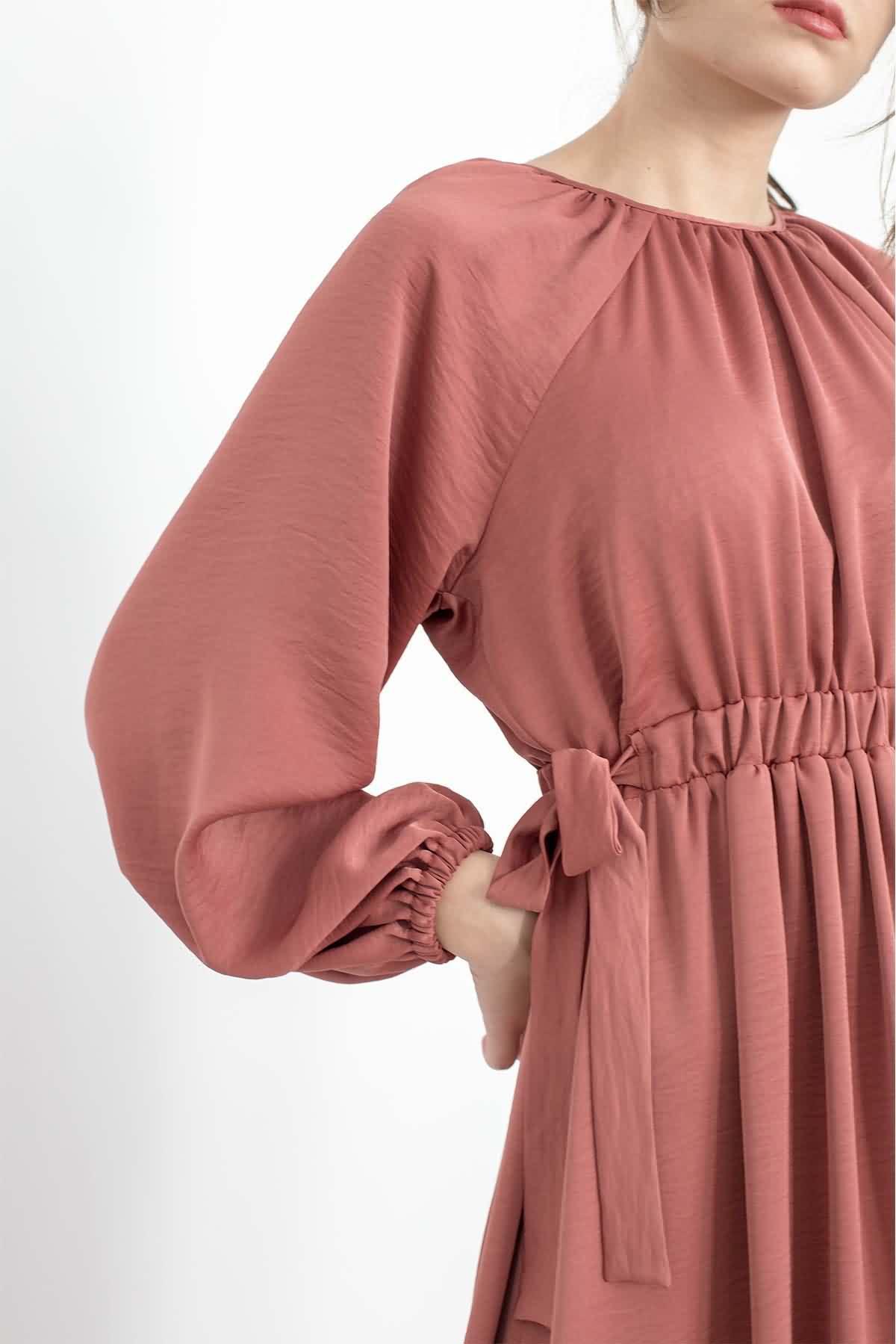 Mevra - Kuşaklı Elbise Gülkurusu