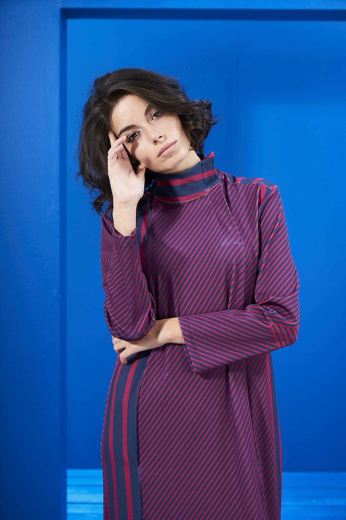 Mevra - Lacivert-Vişne Çizgili Elbise
