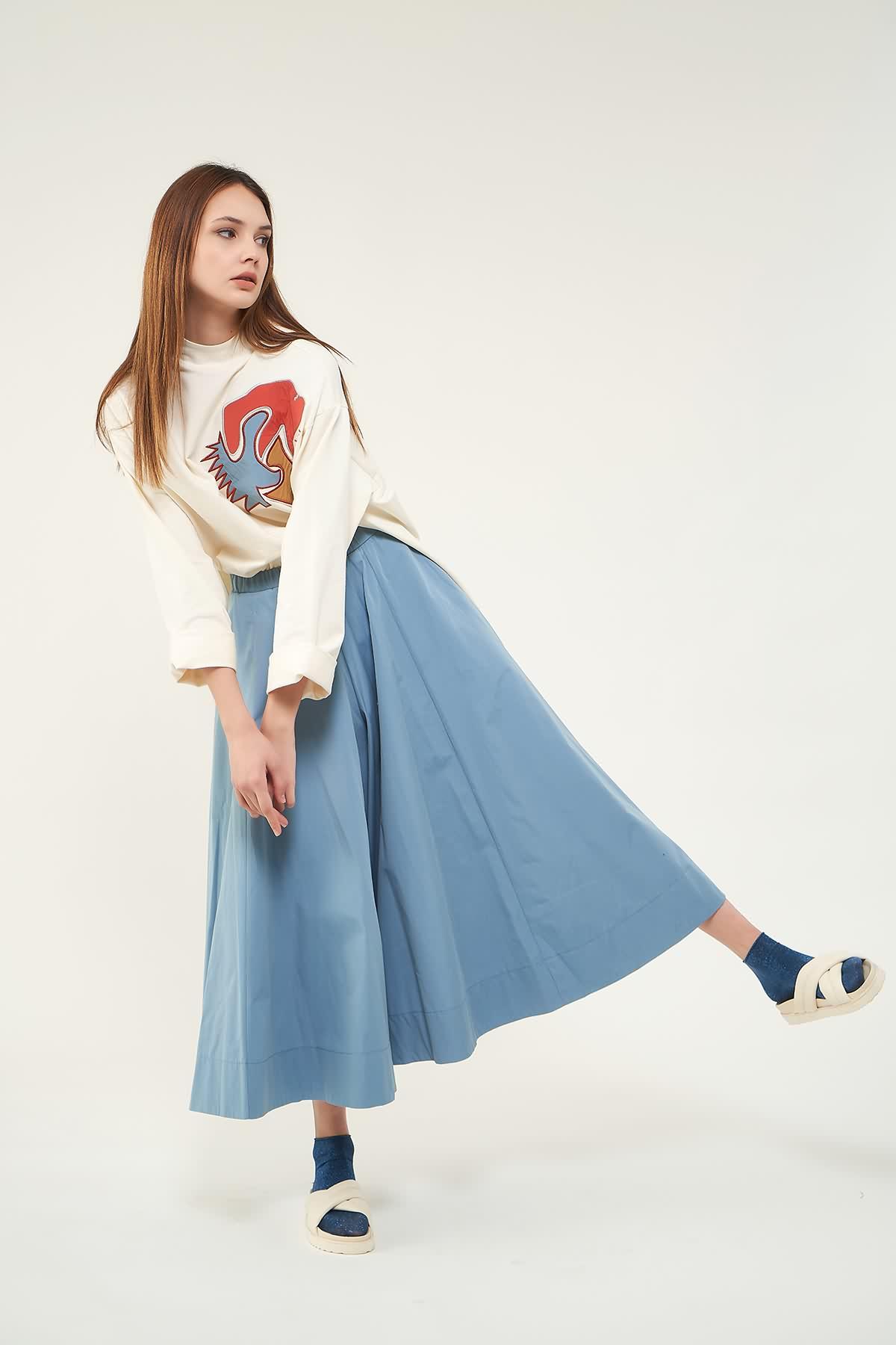 Nakışlı Sweatshirt N1 Mavi - Thumbnail
