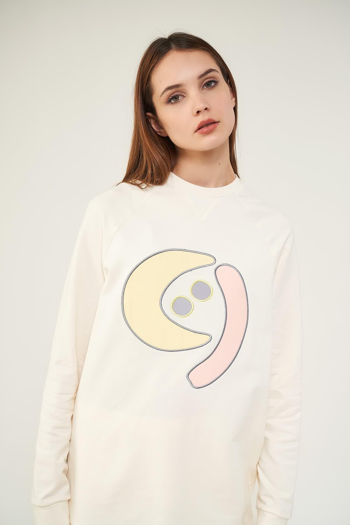 Nakışlı Sweatshirt N2 Sarı - Thumbnail