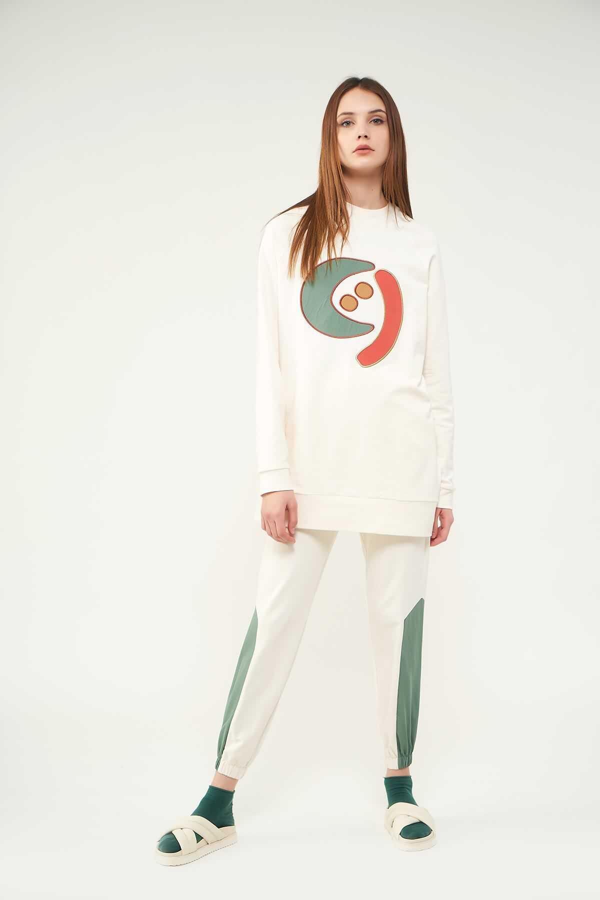 Mevra - Nakışlı Sweatshirt N2 Yeşil