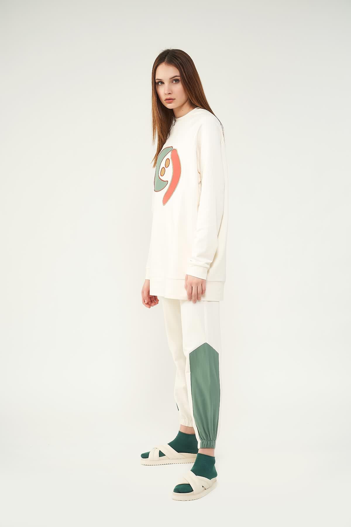 Nakışlı Sweatshirt N2 Yeşil - Thumbnail