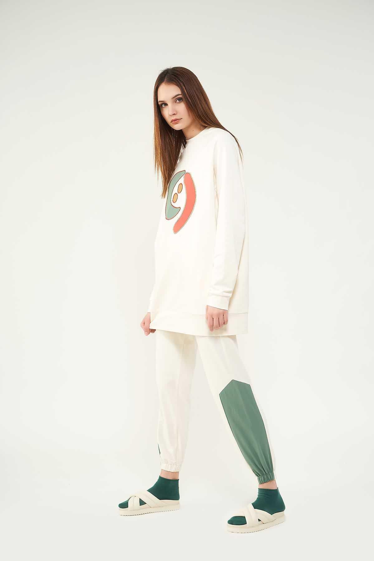 Nakışlı Sweatshirt N2 Yeşil