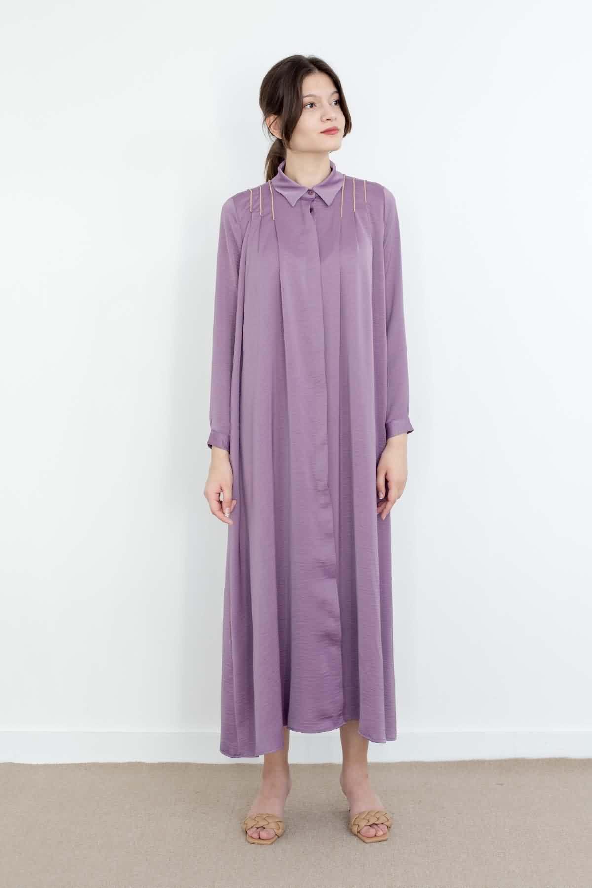 Mevra - Omzu Pileli Elbise Lavanta