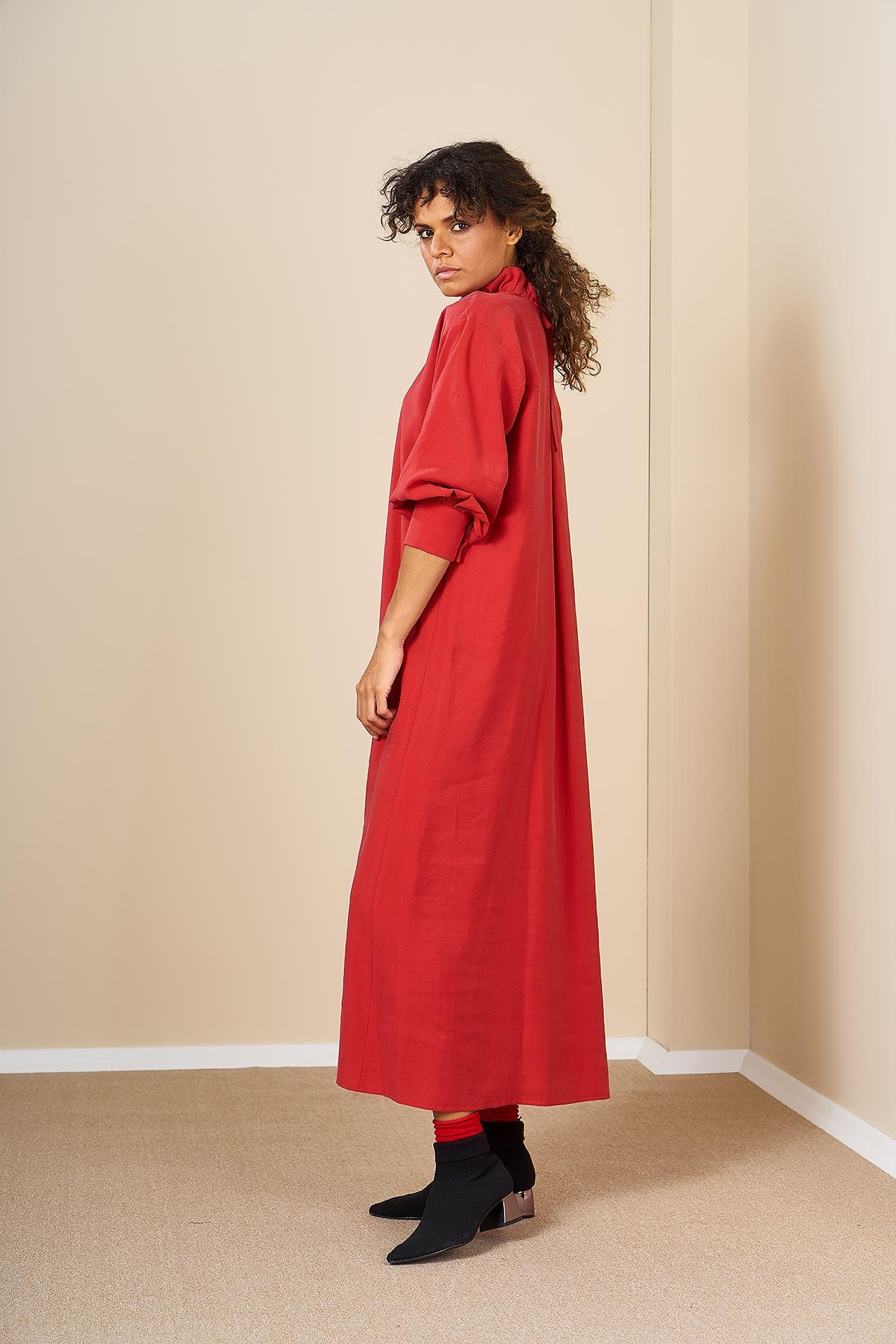 Mevra - Oversize Elbise Kırmızı