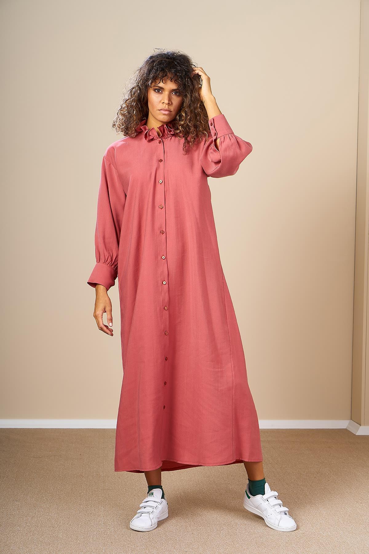 Mevra - Oversize Elbise Pudra