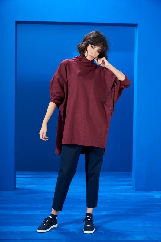 Oversize Tunik Bordo